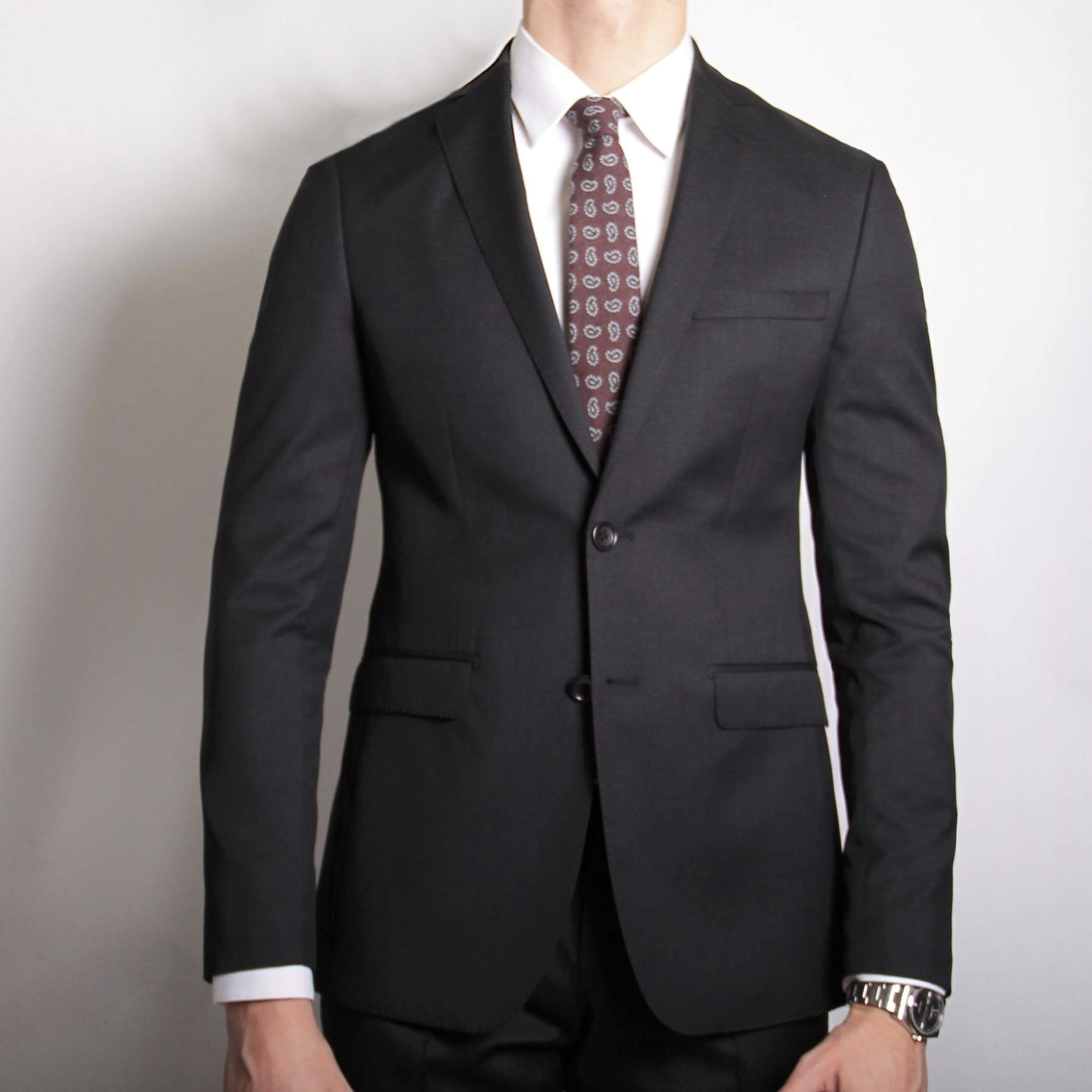 Costume gris anthracite - Doublure bordeaux - Slim-Fit - Pure Laine - Tissu Canonico 110's (Suits)