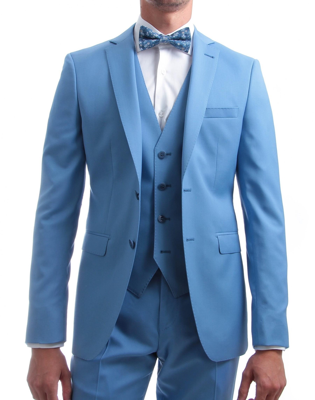 Costume 3 pièces : Bleu ciel - Pure laine - Canonico 110's