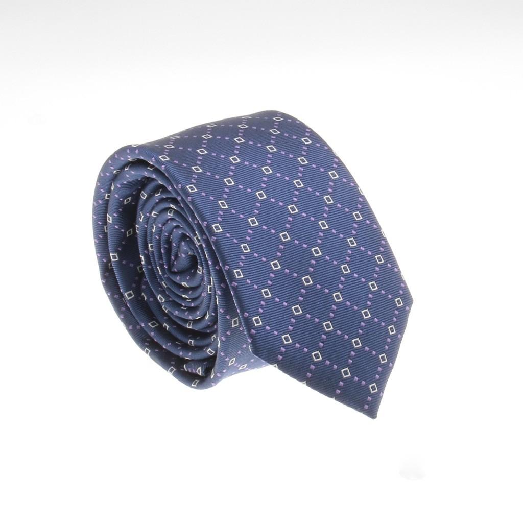 Cravate en soie : Motifs bleus et blancs (cravate)