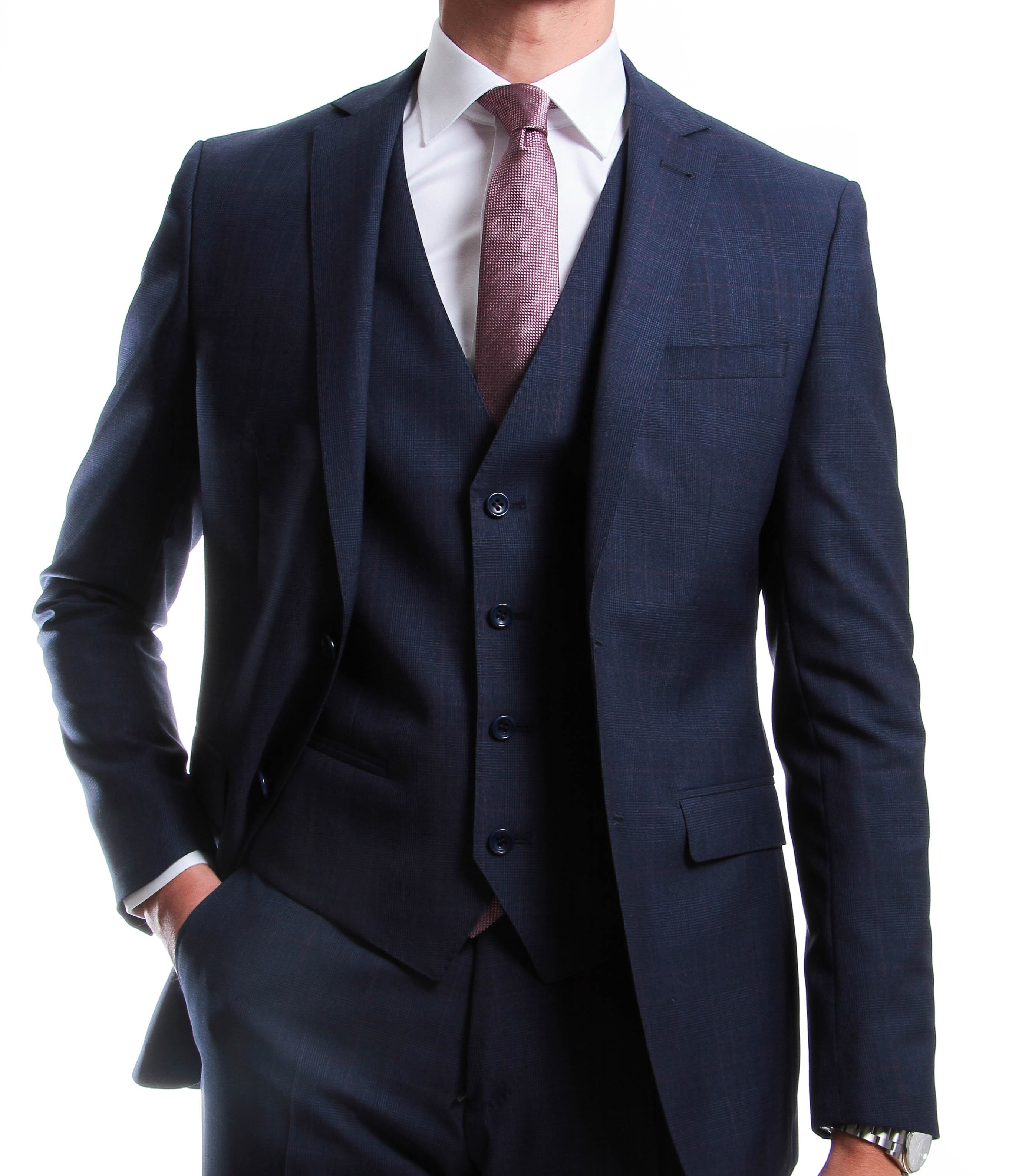 Costume 3 pièces : Bleu moyen - Prince de Galles - Pure laine Canonico 130's (Suits)