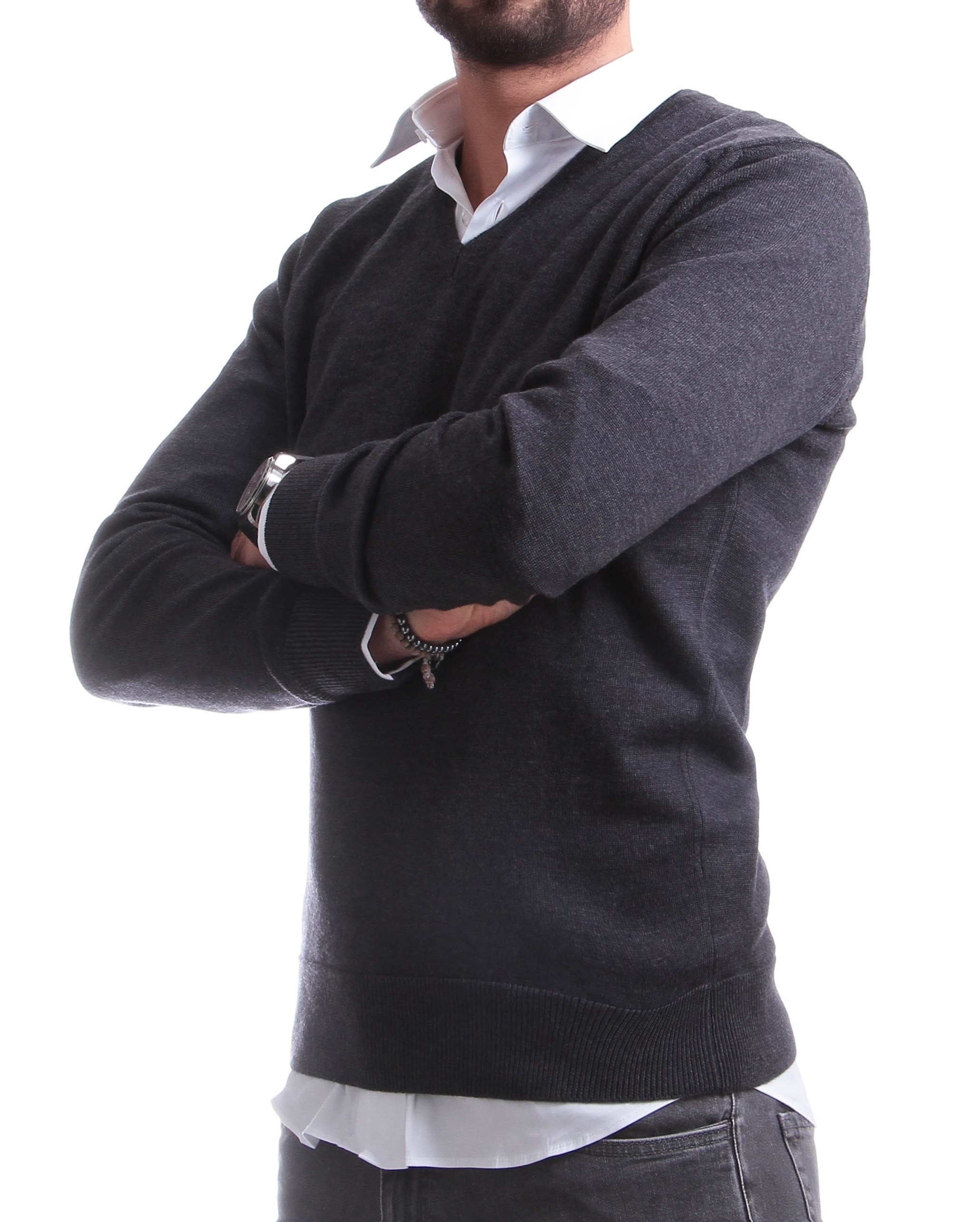 Pull Italy : Anthracite - Col en V - Pure laine mérinos