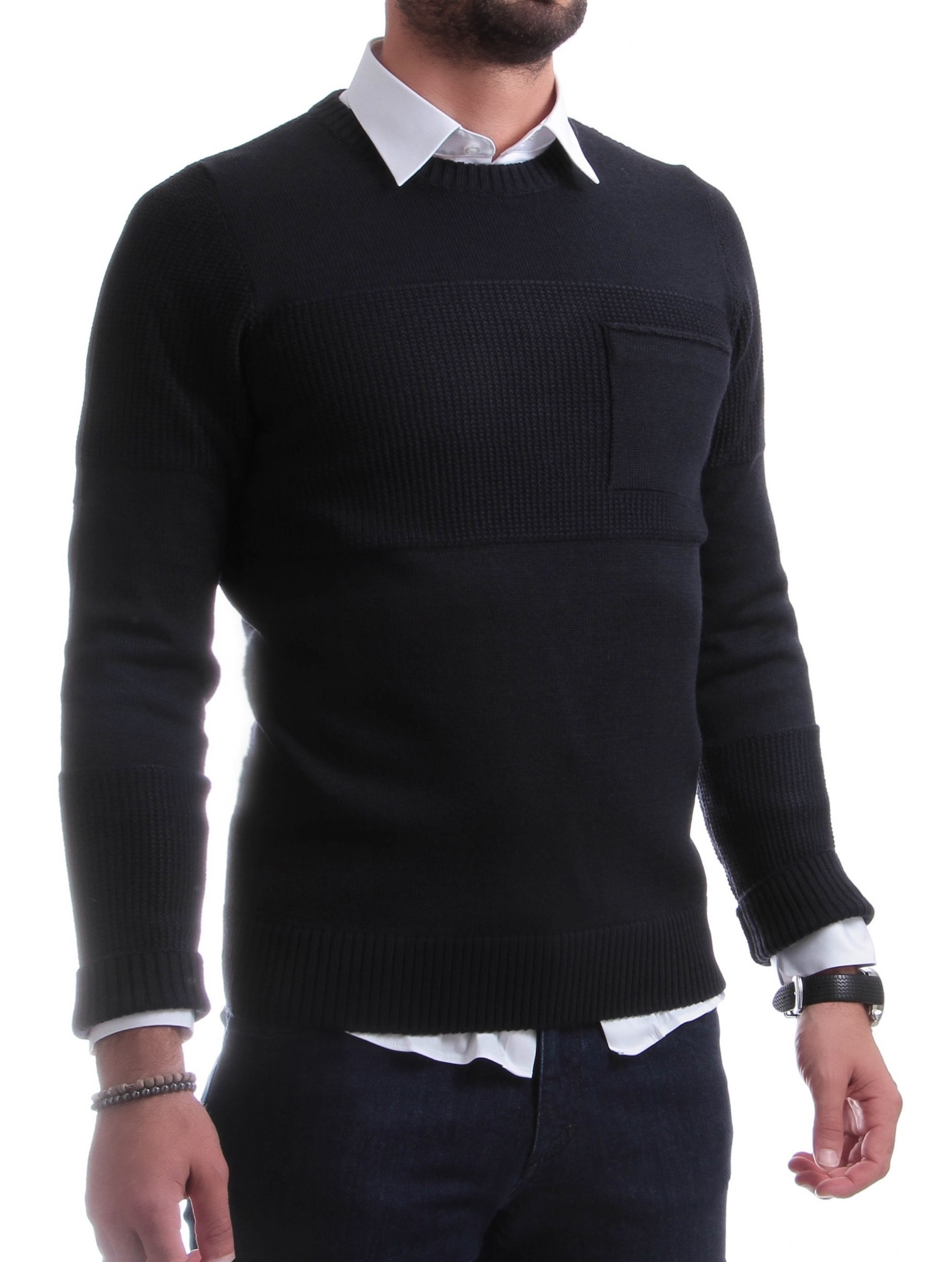 Pull Army : Marine - Col rond - Made in italy