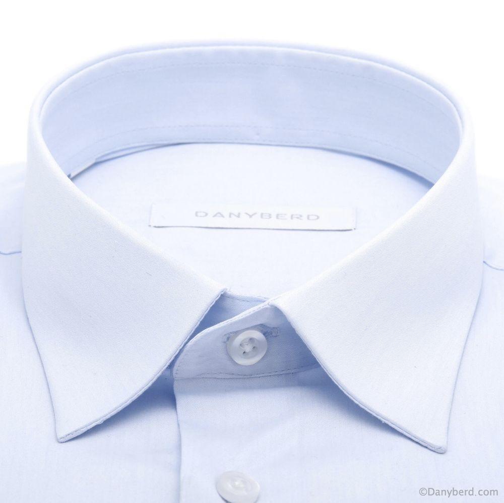 Chemise Roomy : Bleu ciel - Slim-Cut - Petit col français (Shirts)