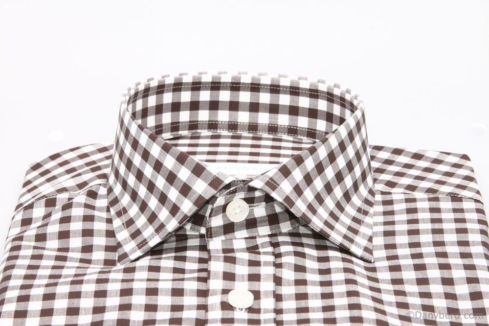 Chemise Cairo : Vichy marron et blanc - Slim-Cut - Col Français (Shirts)