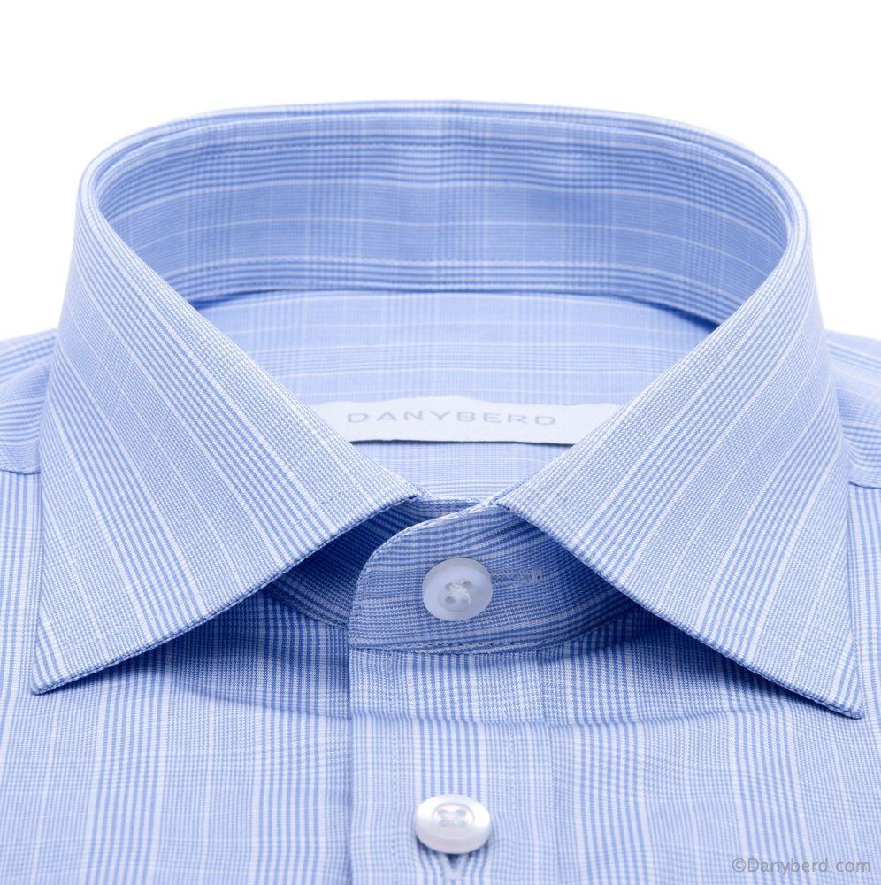 Chemise Cairo : Prince de Galles bleu - Slim-cut - Col Français (chemise)