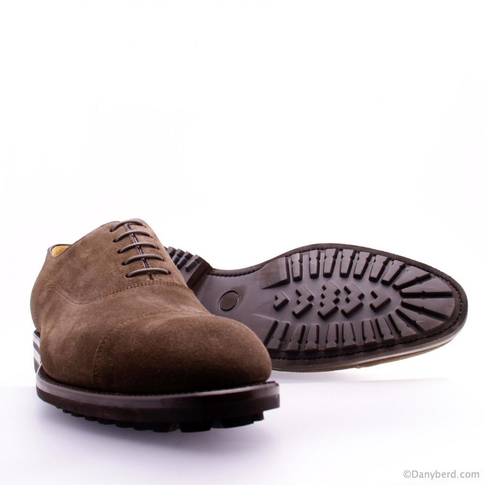 Richelieu Marrons - Veau Velours Cousu Goodyear - Semelle Gomme (Shoes)