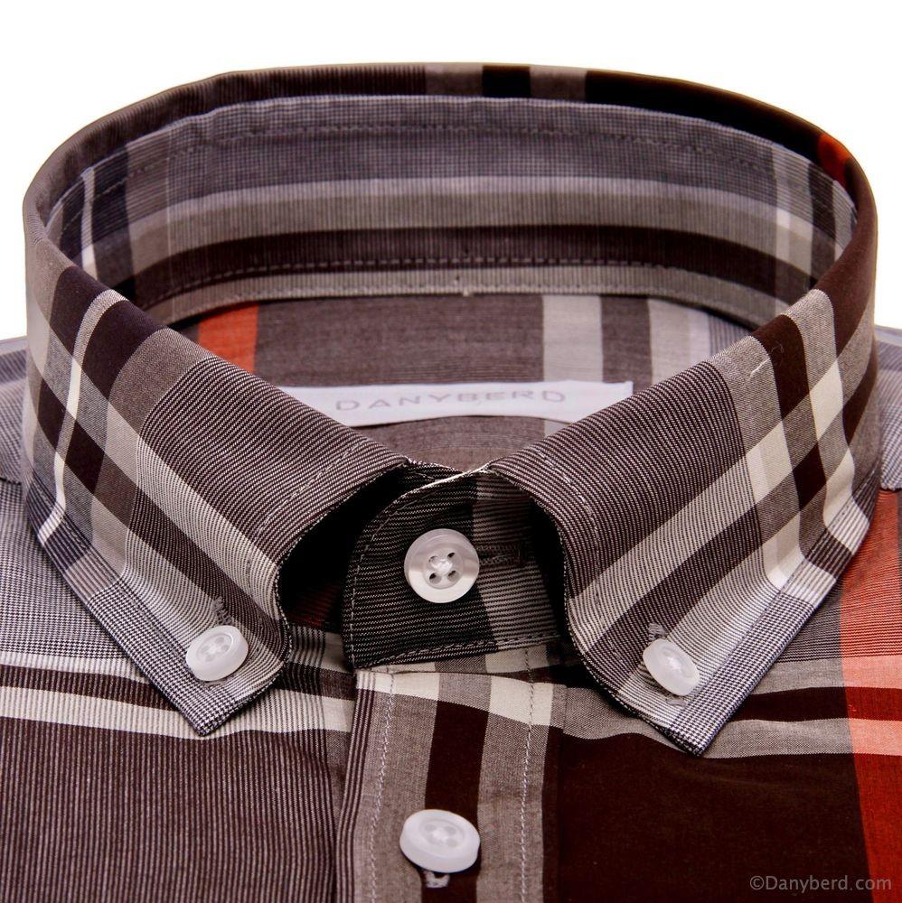 Chemise Vermont : Carreaux orangé - Slim-Cut - Col boutonné (Shirts)