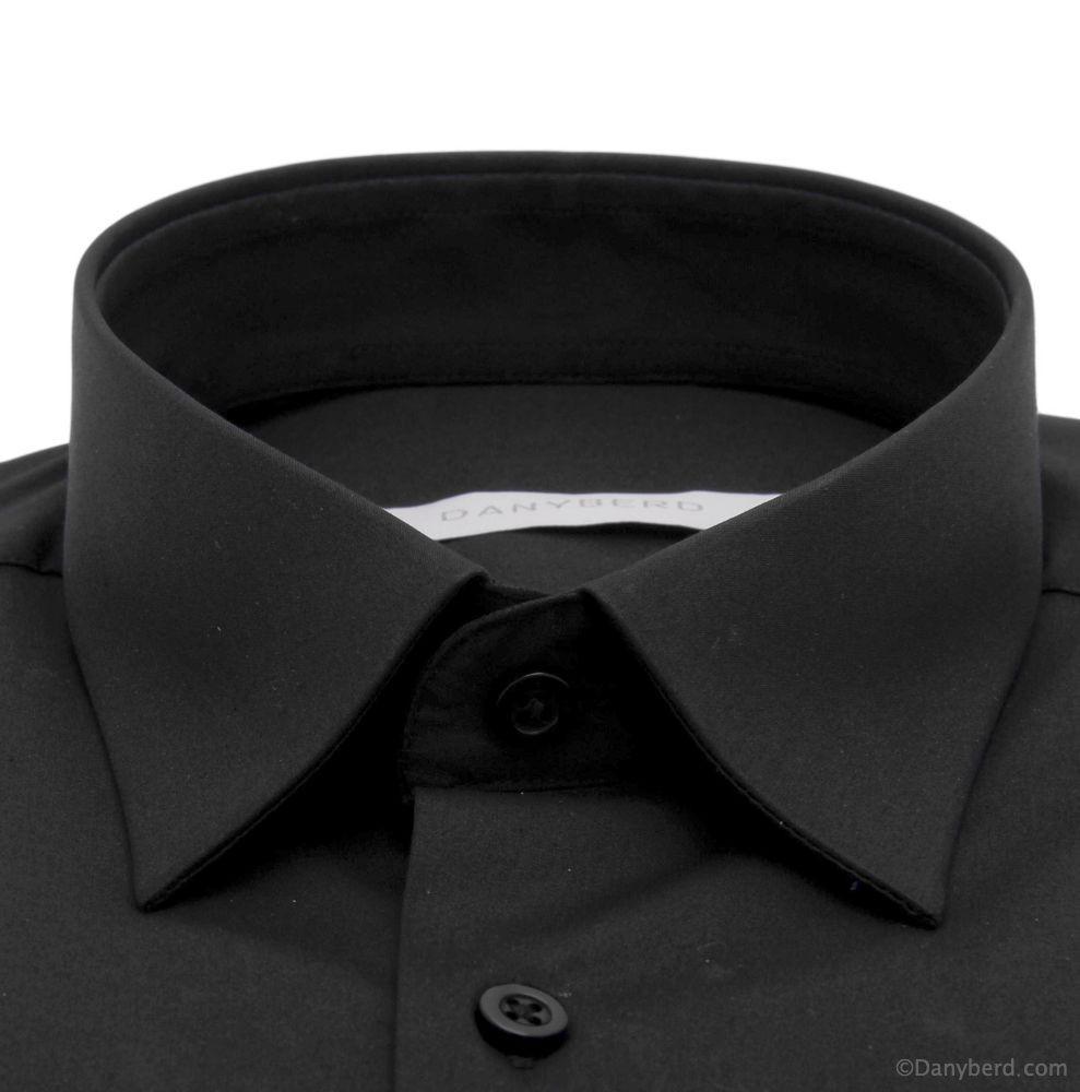hemise Roomy : Noire - Slim-Cut - Petit col français (Shirts)