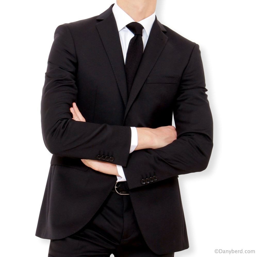 Costume Noir - Slim-Fit - Pure Laine - Tissu Canonico 110's (Suits)