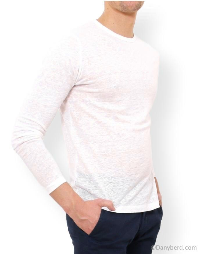 Tee-Shirt Ecru - Manches Longues - Col Rond - Lin