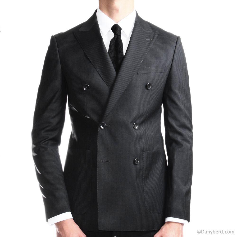 Costume base noire et rayures grises - Croisé - Tissu Canonico 110's (Costcarr)