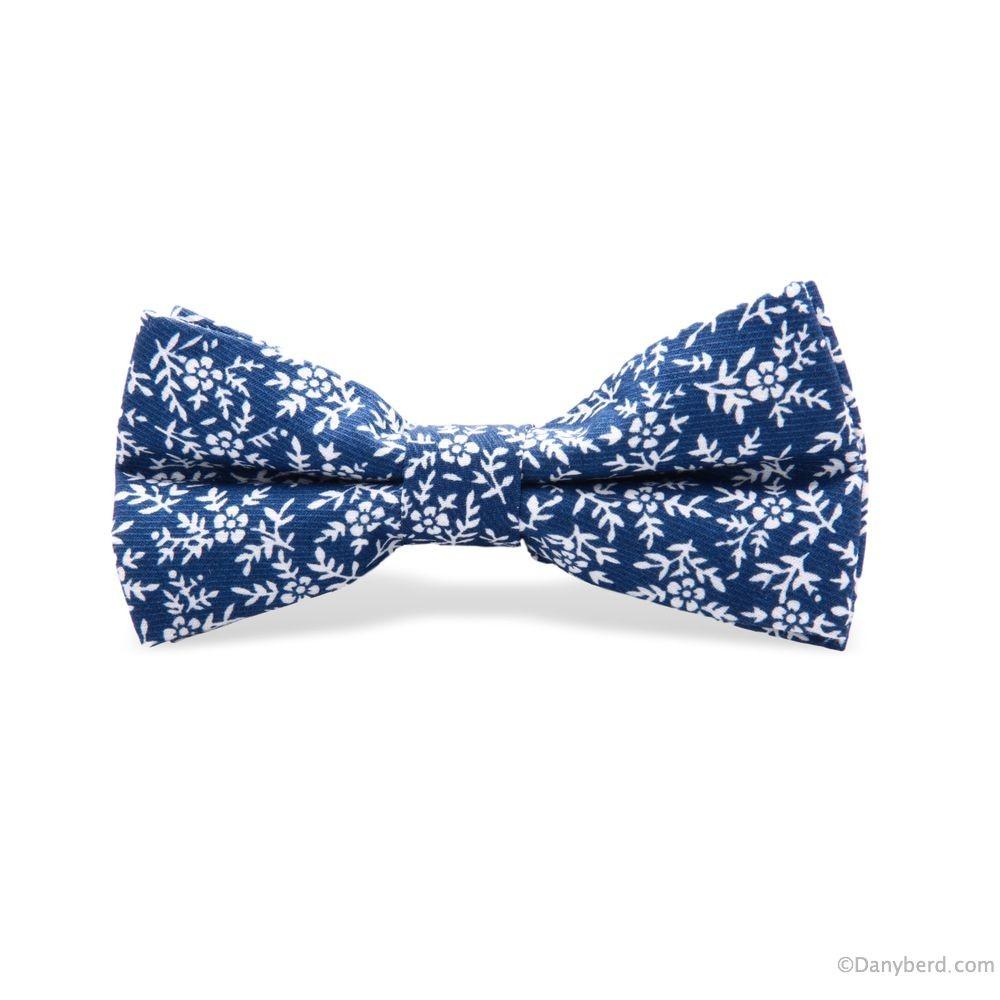 Nœud Papillon : Bleu Marine - Fleurs Blanches
