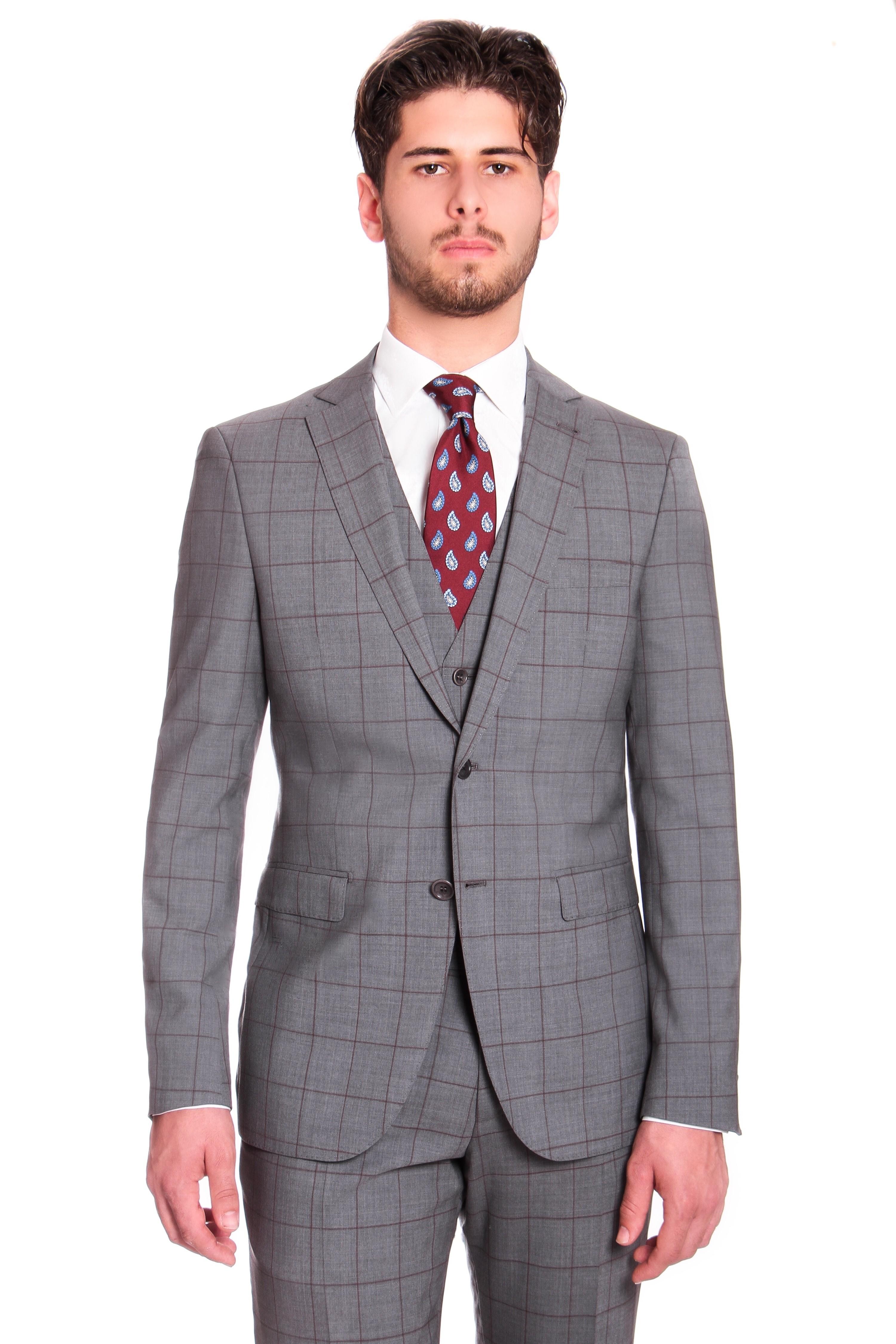 Costume 3 pièces : gris à carreaux-fenetre marron - pure laine - tissu Zegna traveller 130's