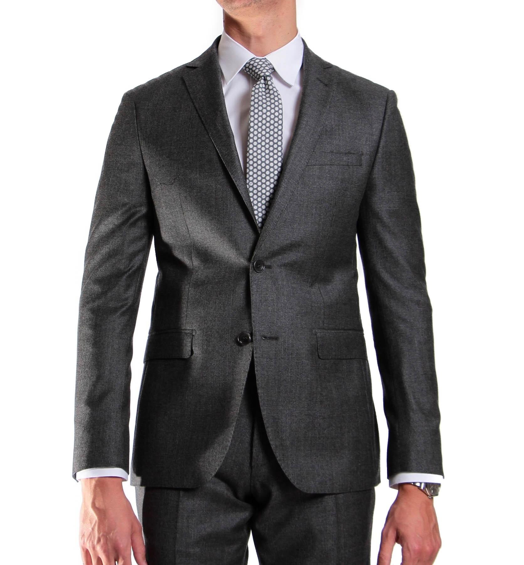Costume Prince de Galles gris - Slim-Fit - Pure Laine - Tissu Canonico 110's