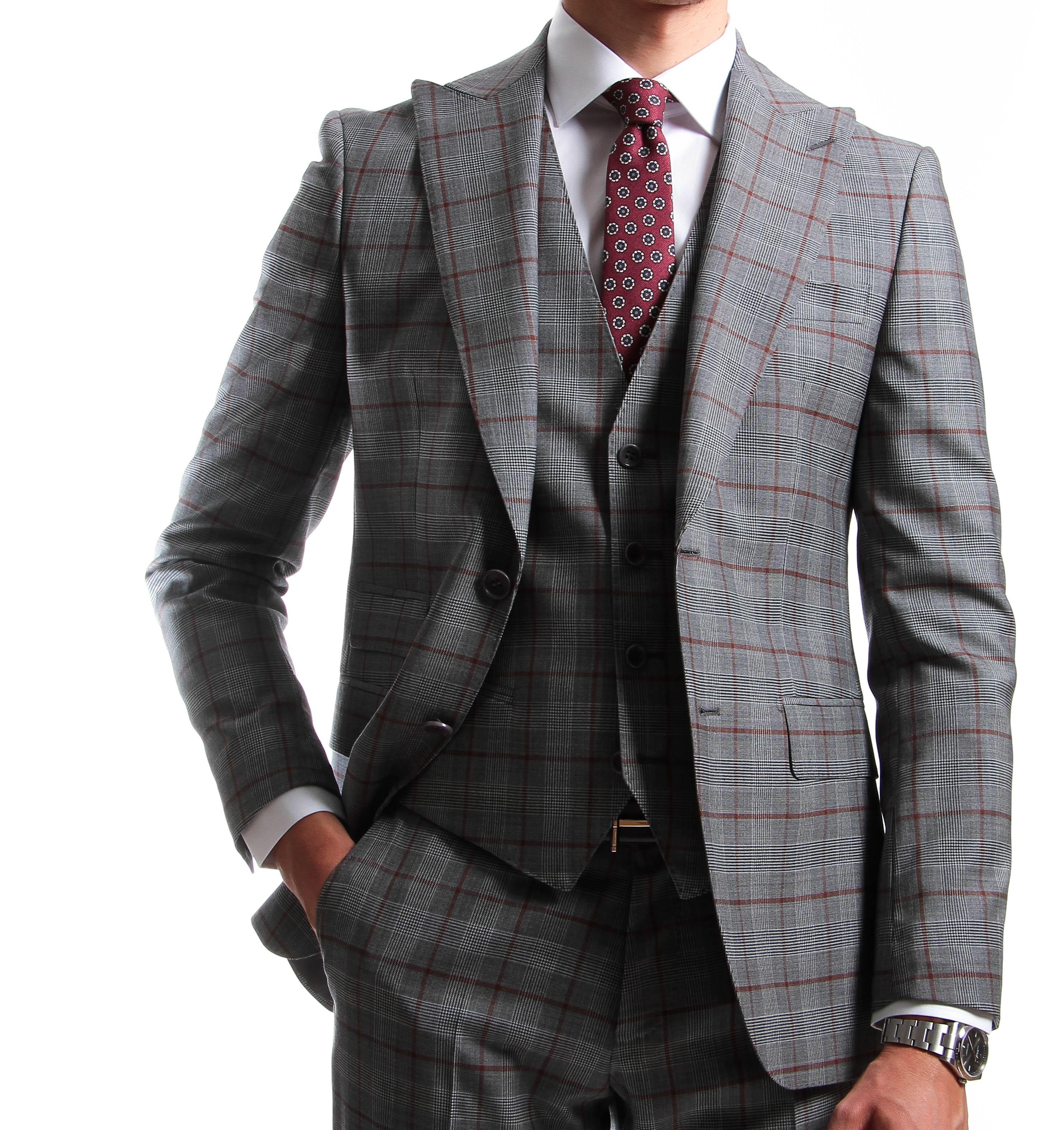 Costume 3 pièces gris carreaux bordeaux - Prince de Galles - Pure laine - Canonico 130's (Suits)
