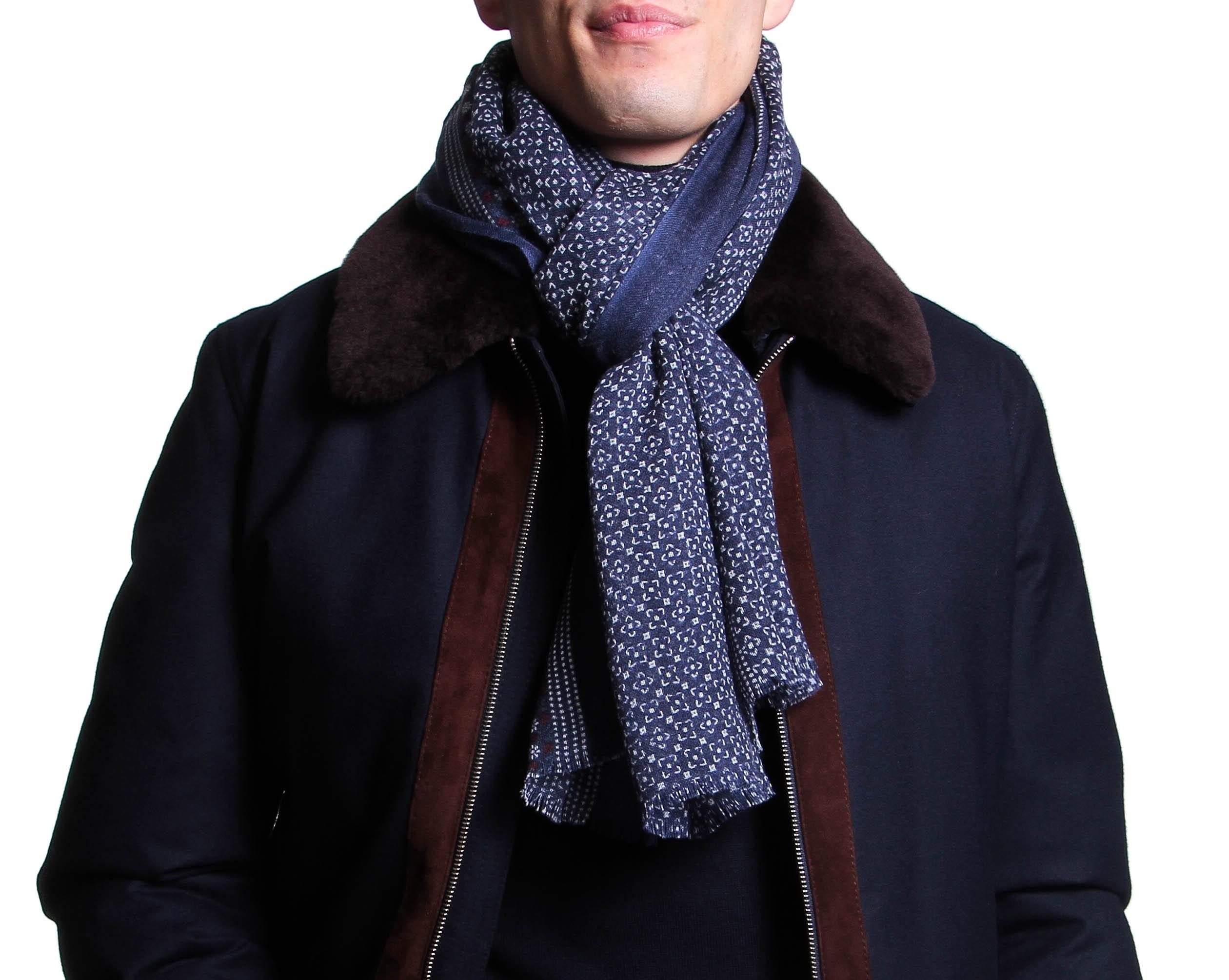 Chèche : Blanc et marine - Pure laine