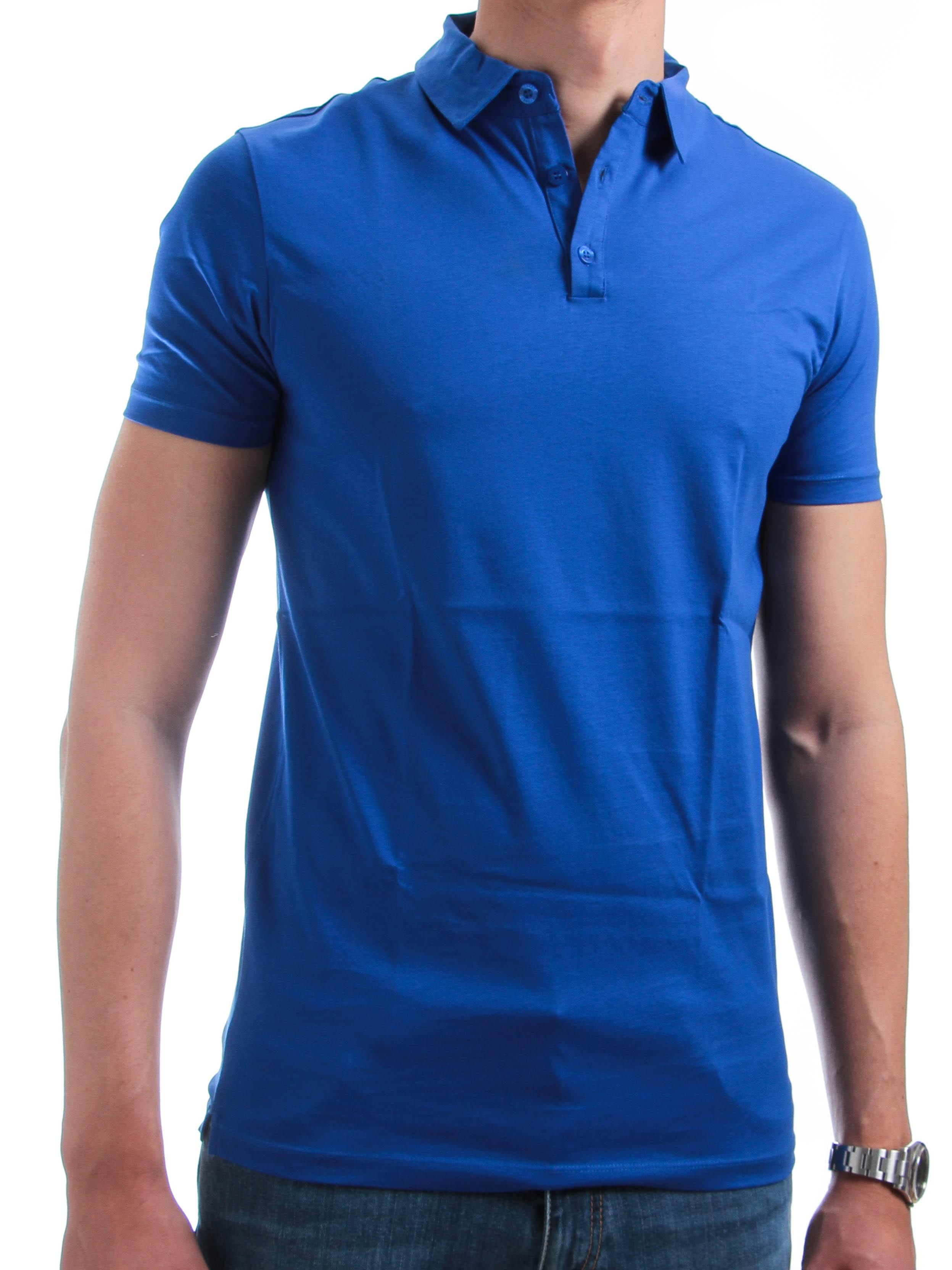 Polo Italy : bleu - Col boutonné - Fil d'écosse (POLOS)