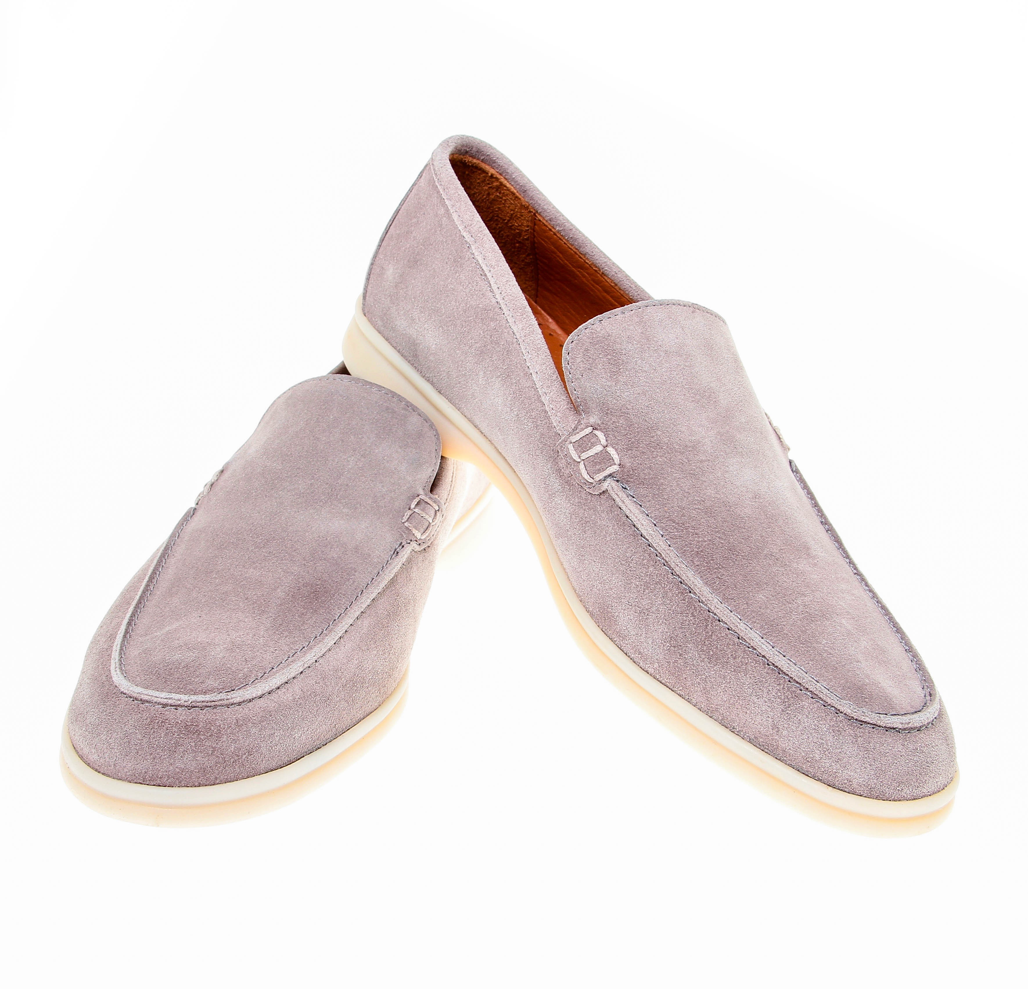 Mocassins : Taupe - Veau Velours - Made in Italy (Shoes)