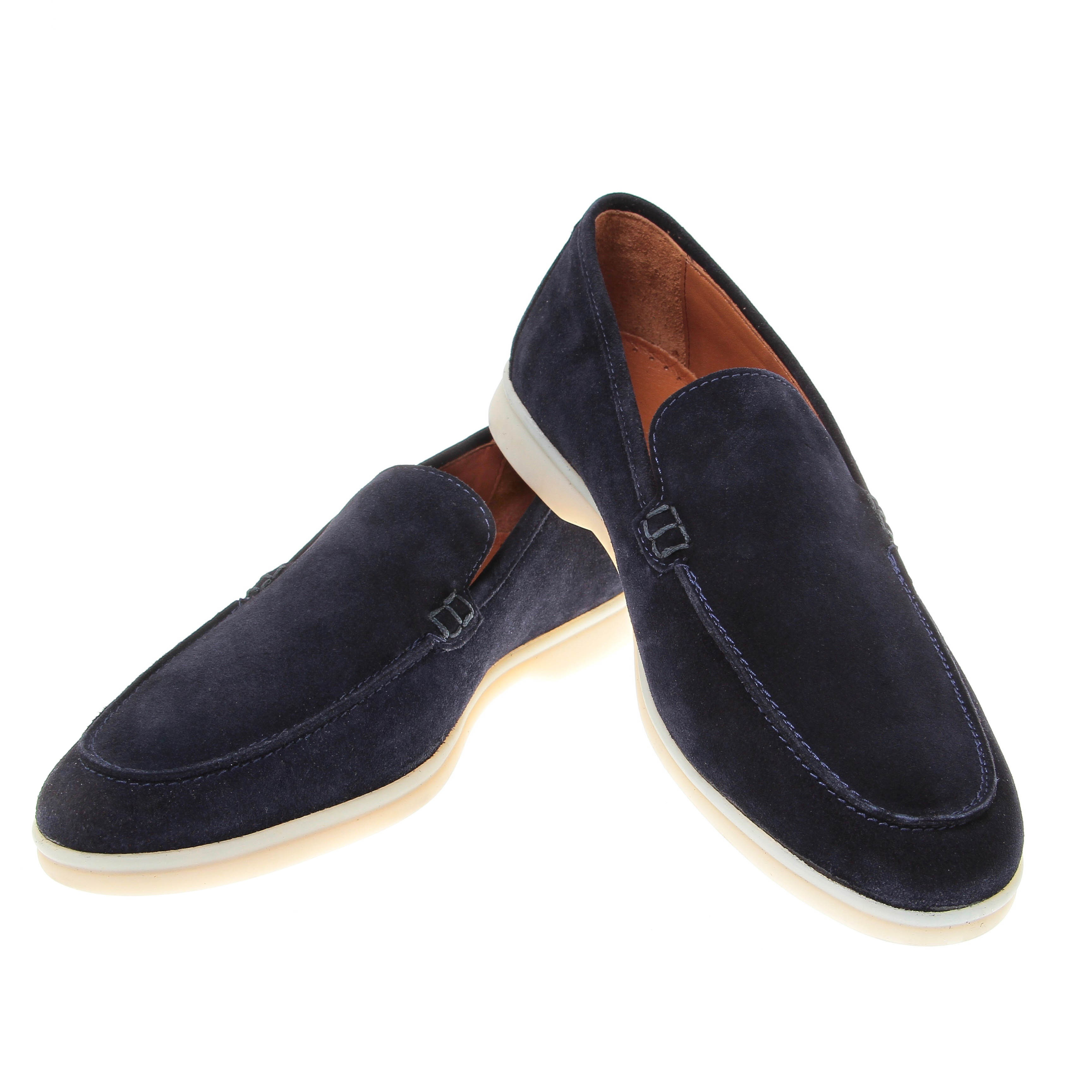 Mocassins : Marine - Veau Velours - Made in Italy (Shoes)