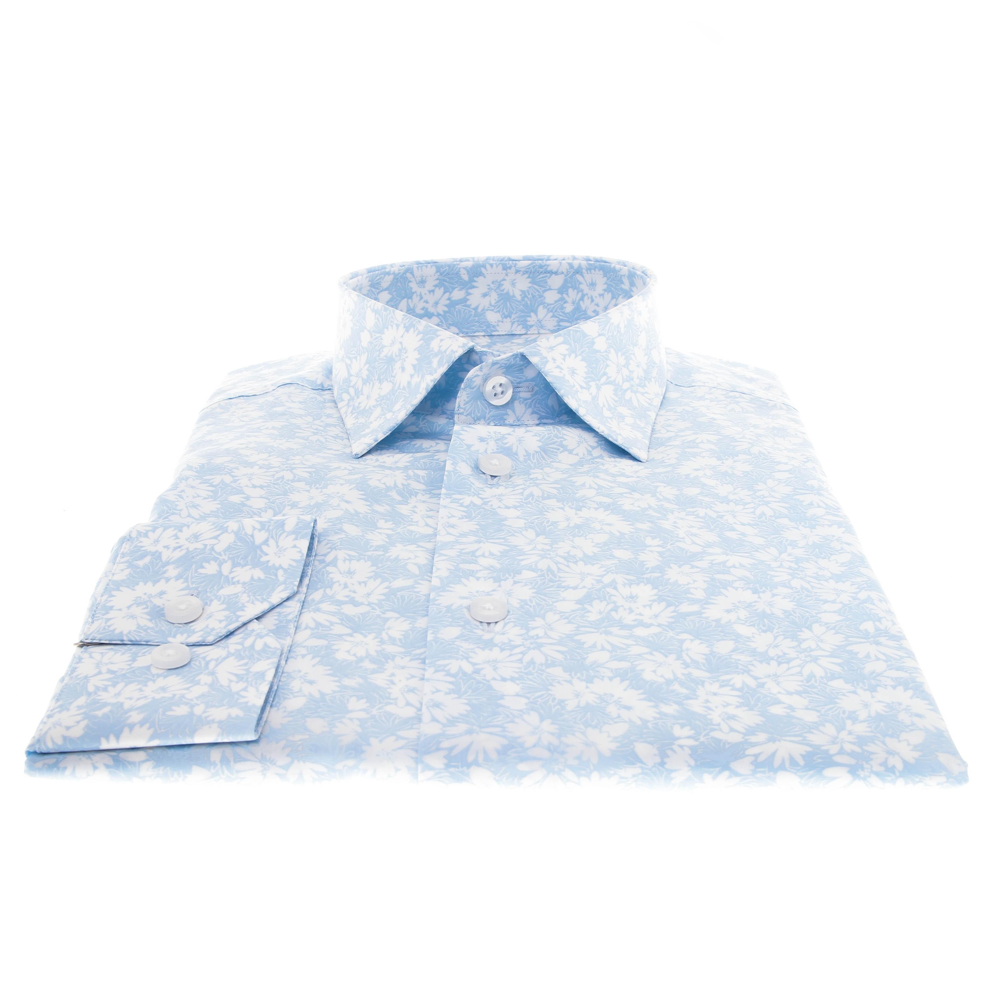 Chemise Summer : Ciel - Motif fleurs blanches - Petit col français (chemise)