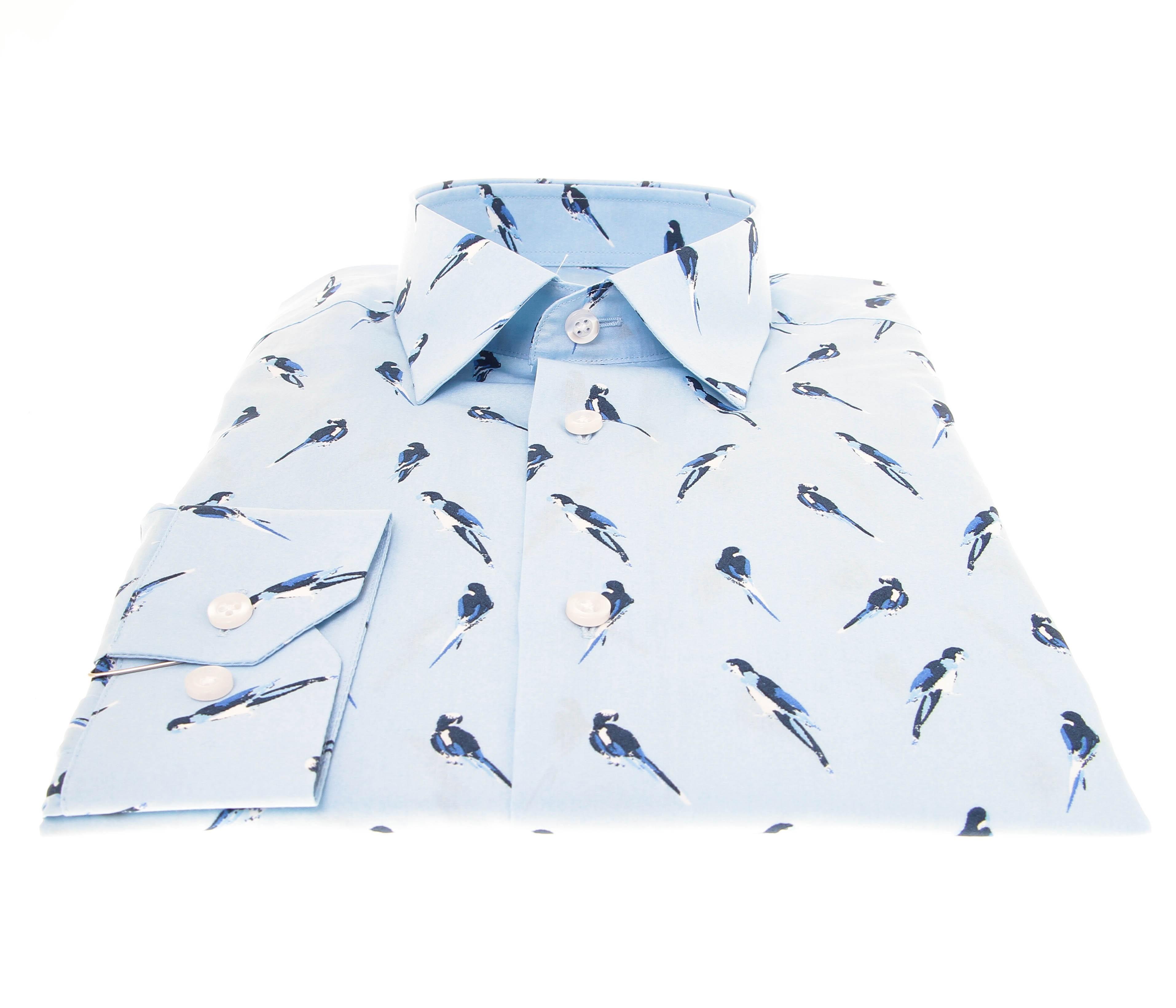 Chemise Summer : Ciel - Motif perroquet bleu - Petit col français (chemise)