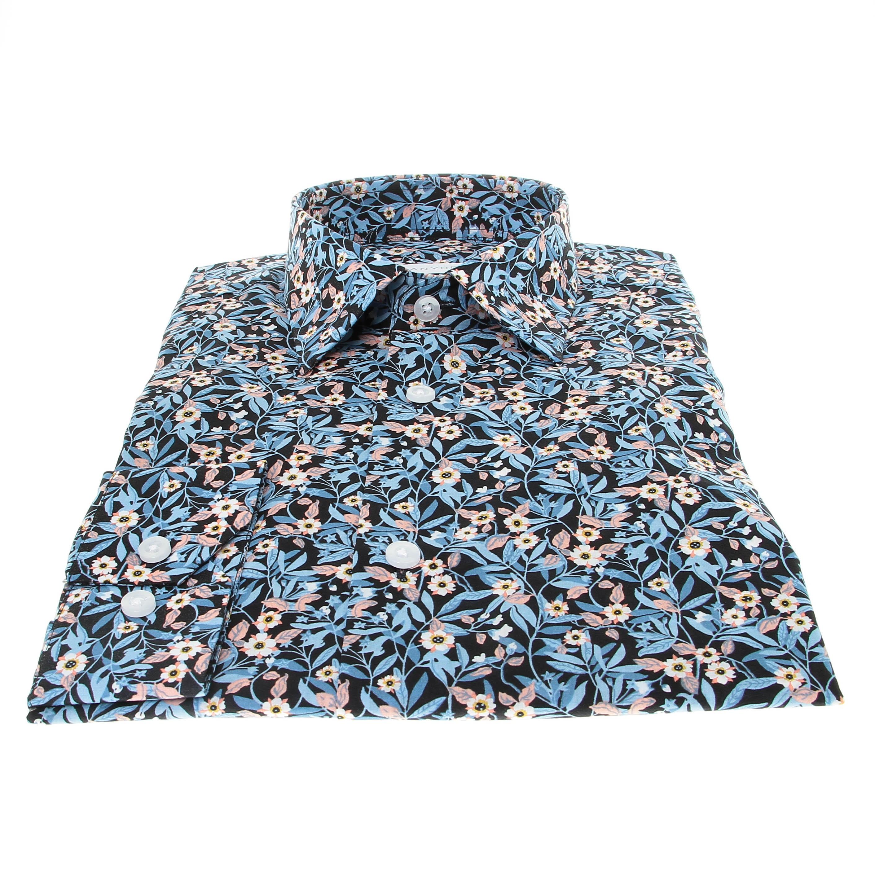 Chemise Summer : Bleu - Motifs fleurs - Petit Col Français (chemise)