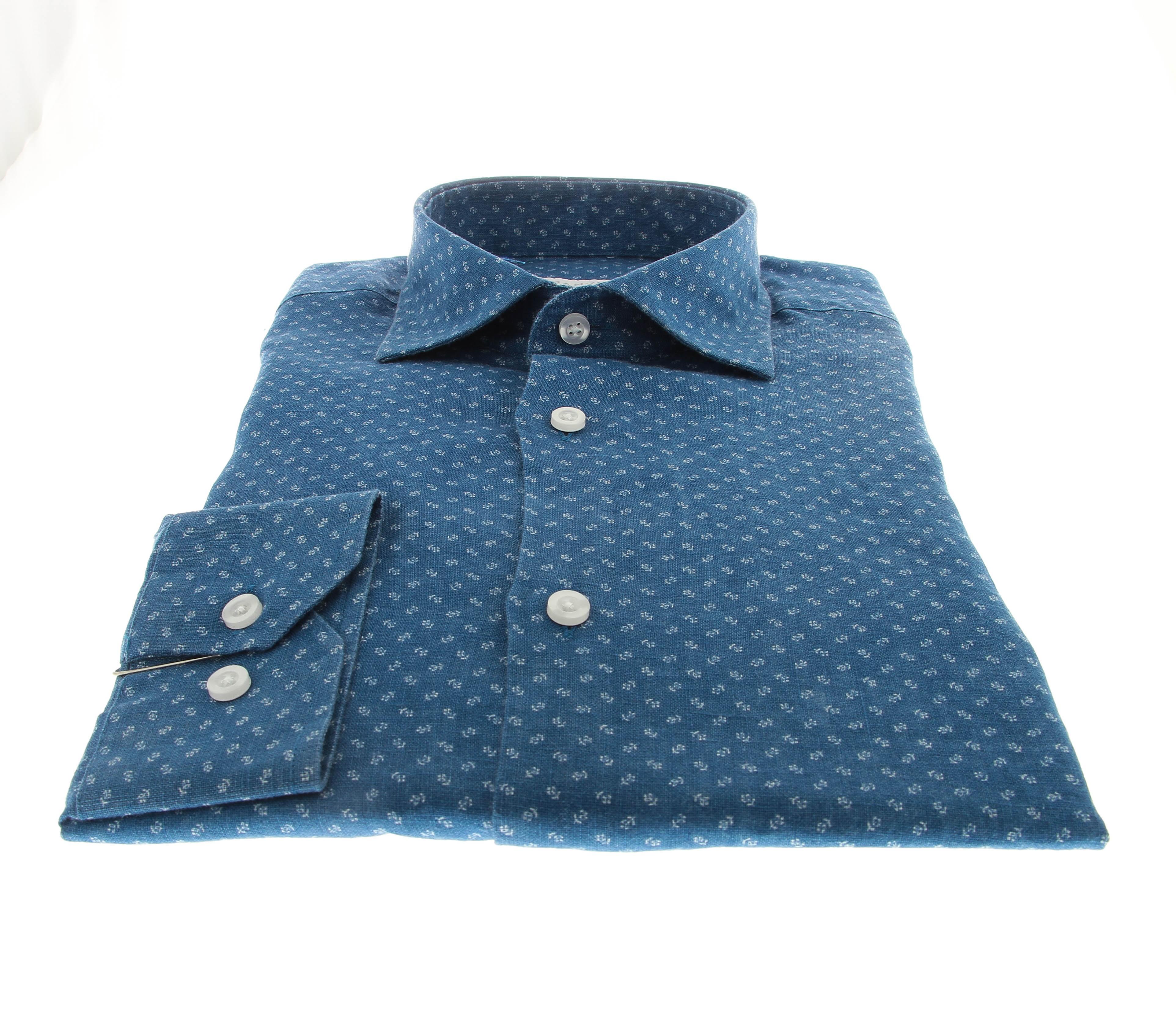 Chemise Summer : Bleu - Petit motif - Petit col français (chemise)