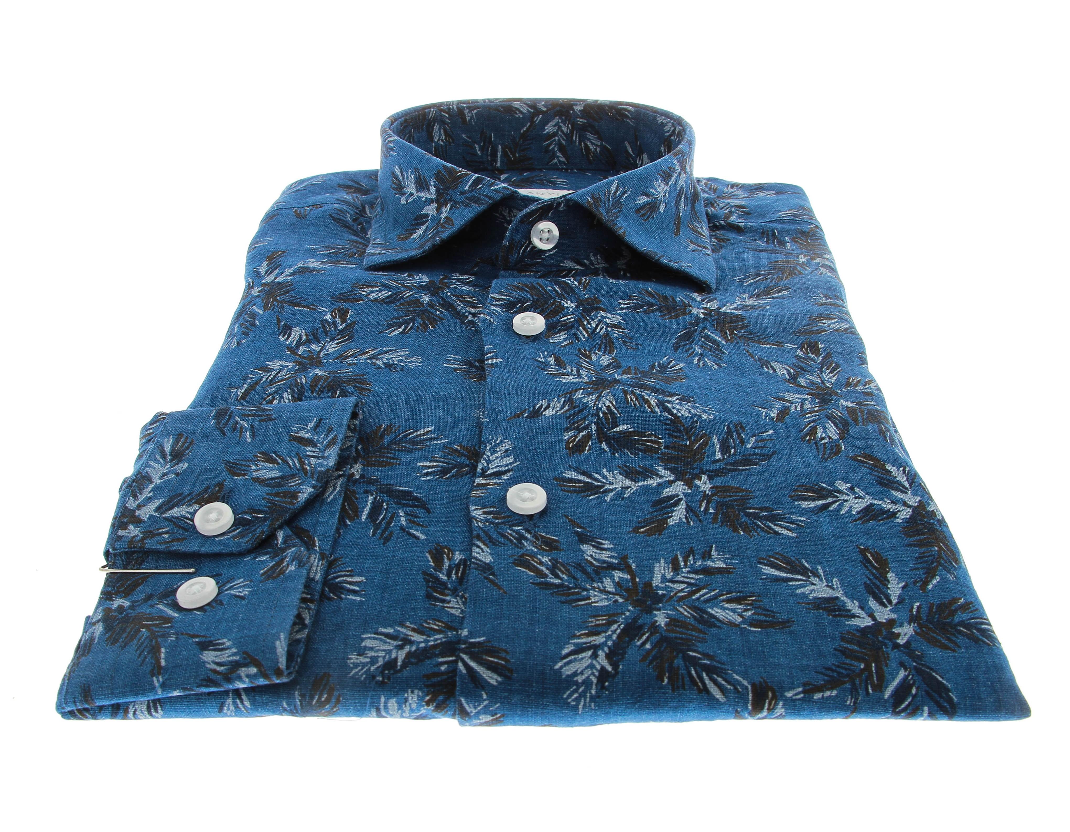 Chemise Summer : Bleu - Motif palme - Petit col français (chemise)