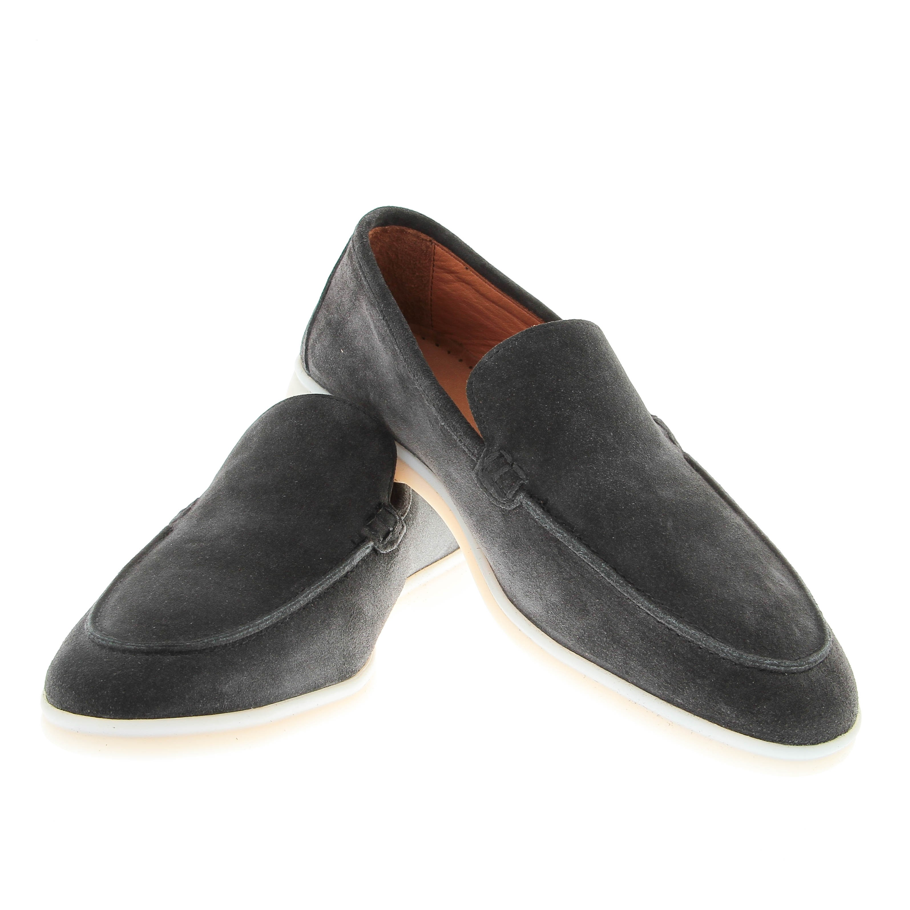 Mocassins : Anthracite - Veau Velours - Made in Italy