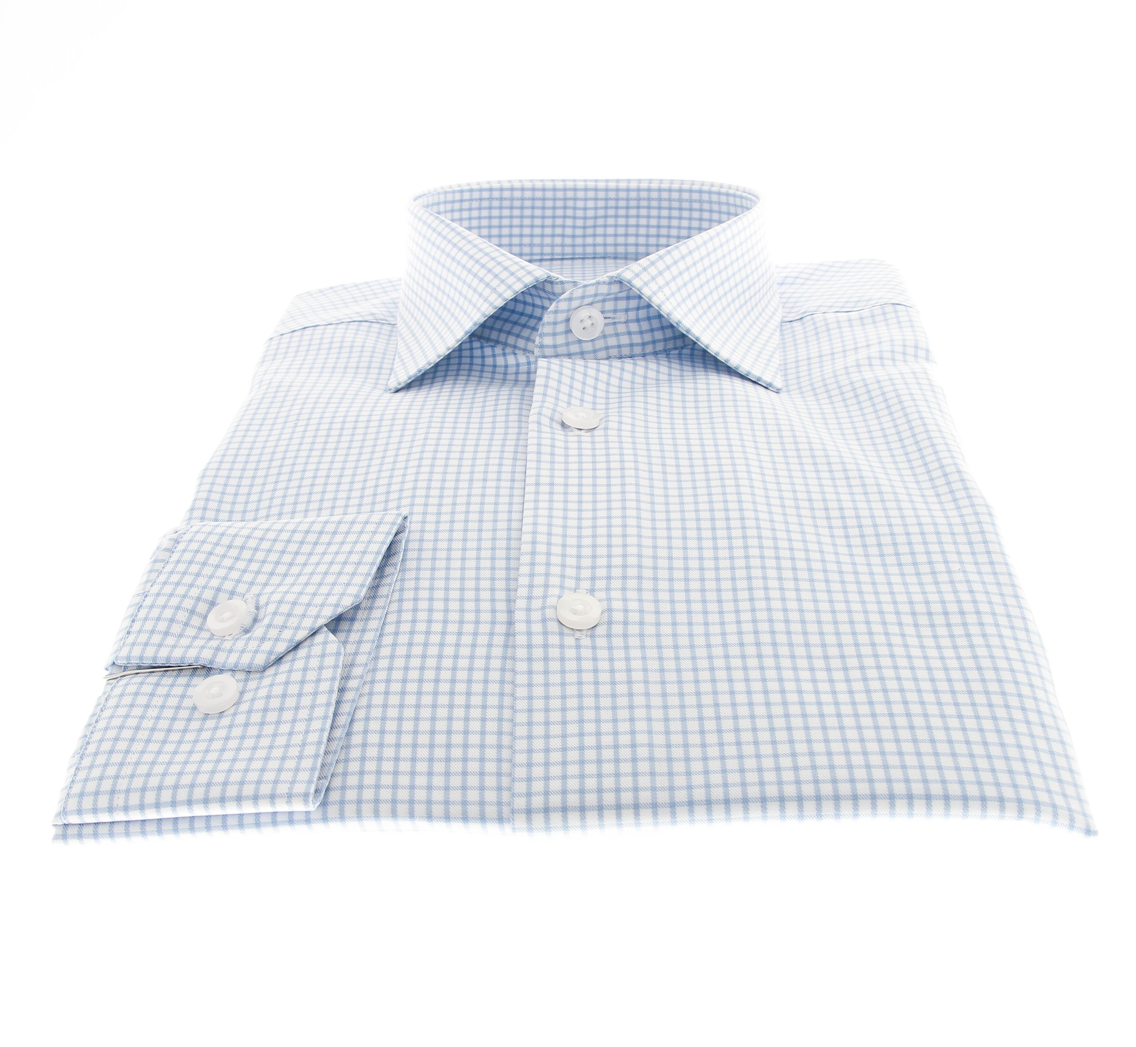 Chemise Lissandro : Base blanche à fins carreaux bleus - Col français