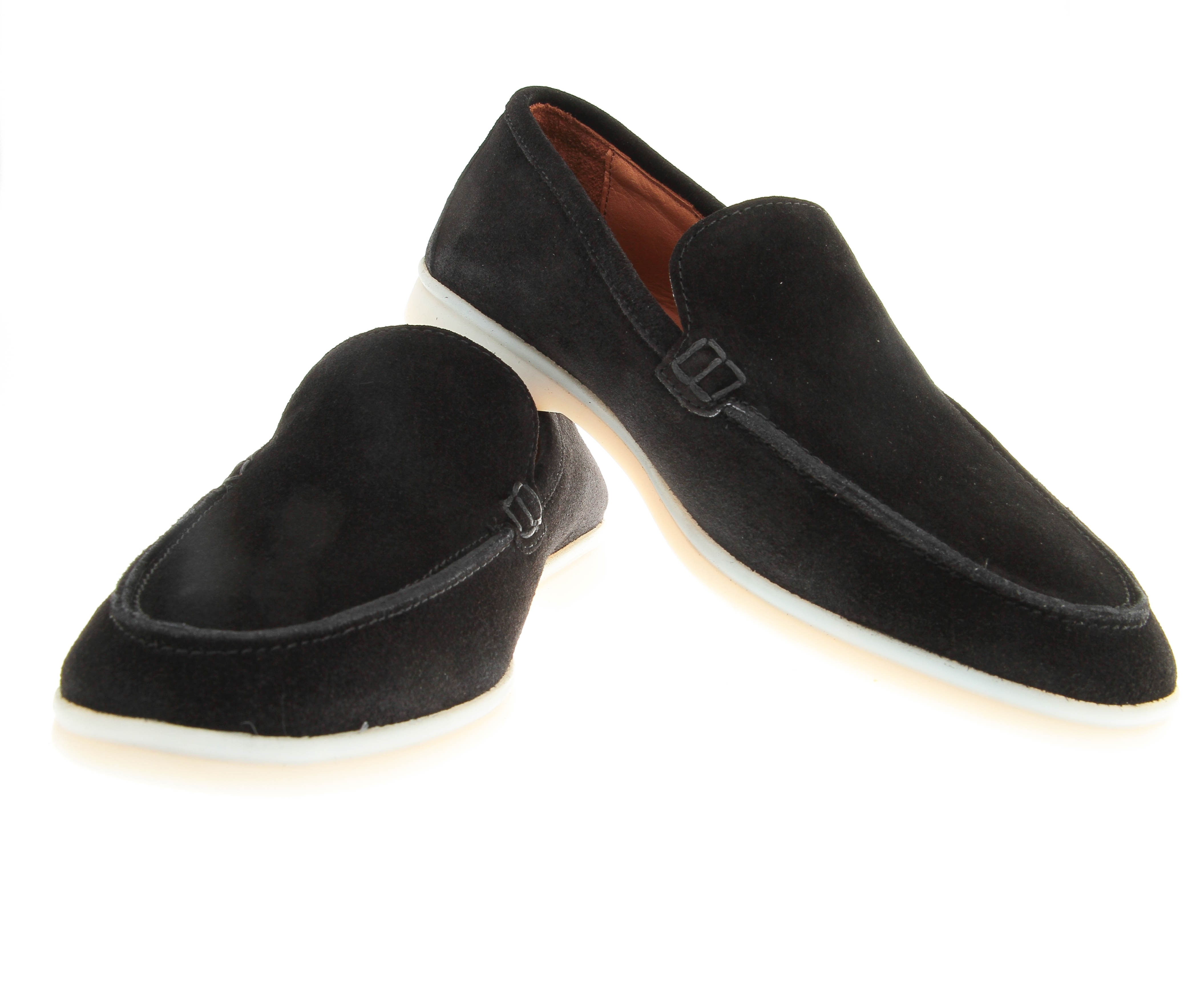 Mocassins : Noir - Veau Velours - Made in Italy