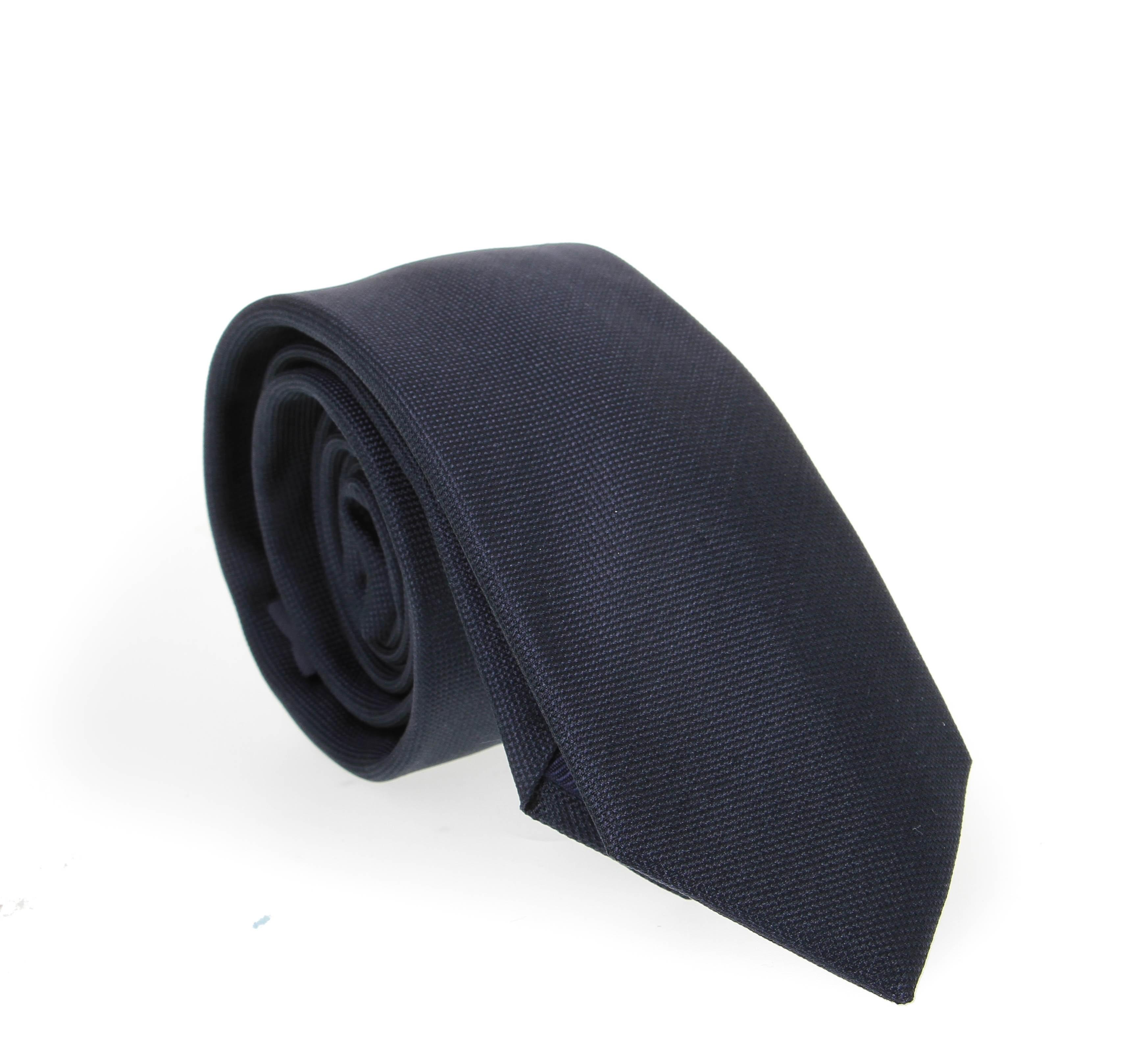 Cravate en soie : Bleu marine - Grainé