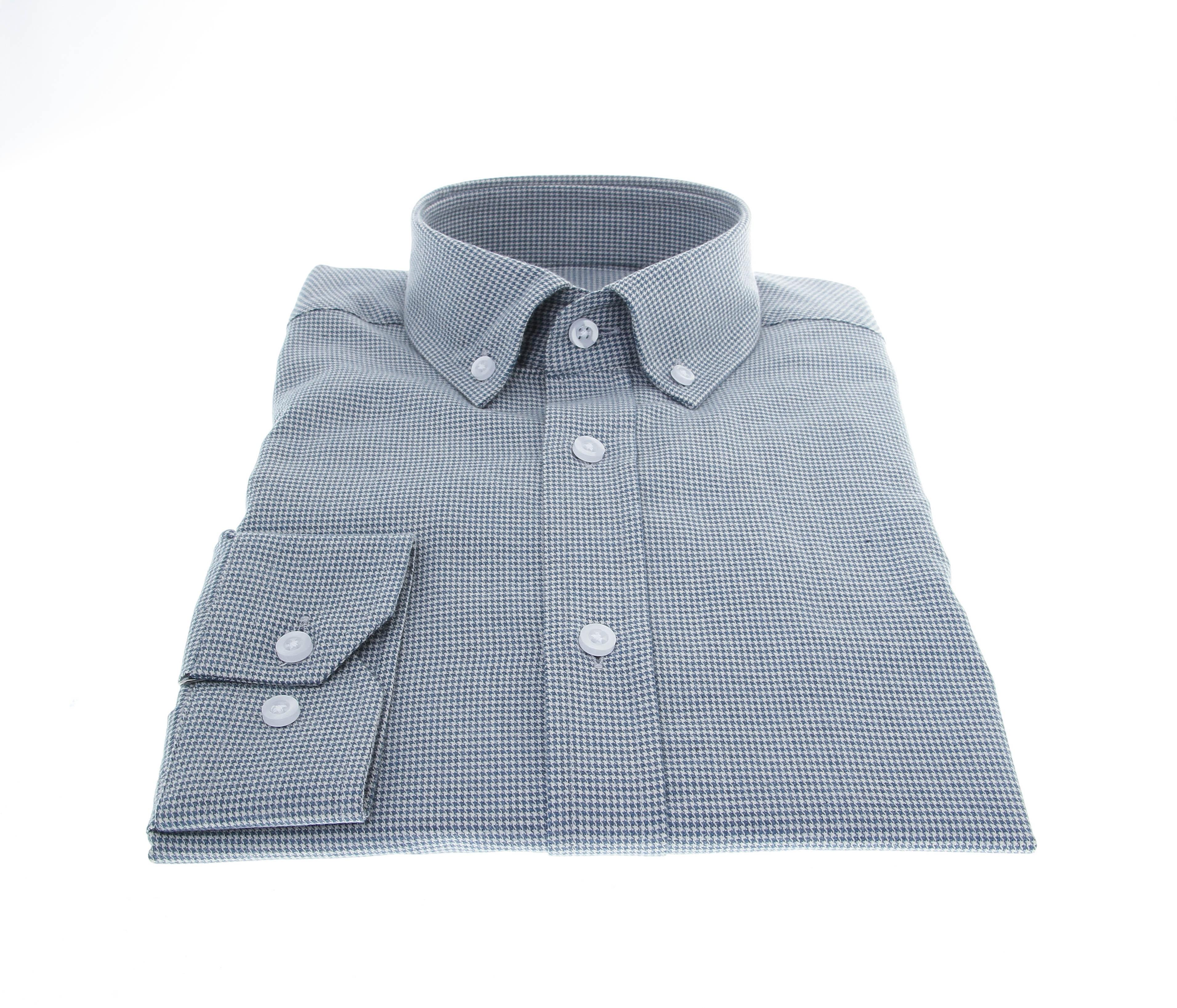 Chemise Winter Vermont : Pied-de-puce gris-bleu  - Pur coton - Col boutonné