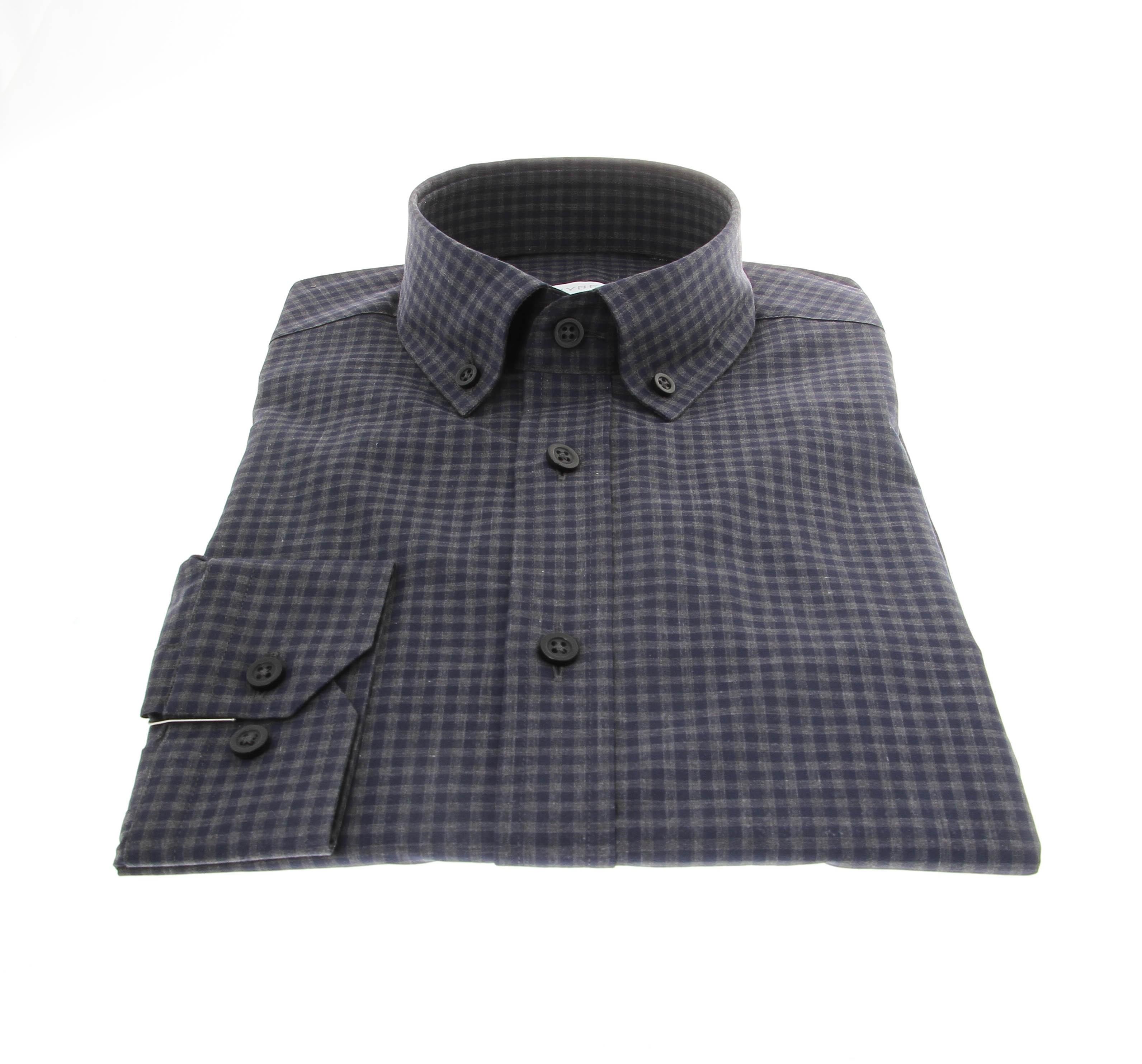 Chemise Winter Vermont : Vichy bleu ether et gris - Col boutonné - 100% Coton