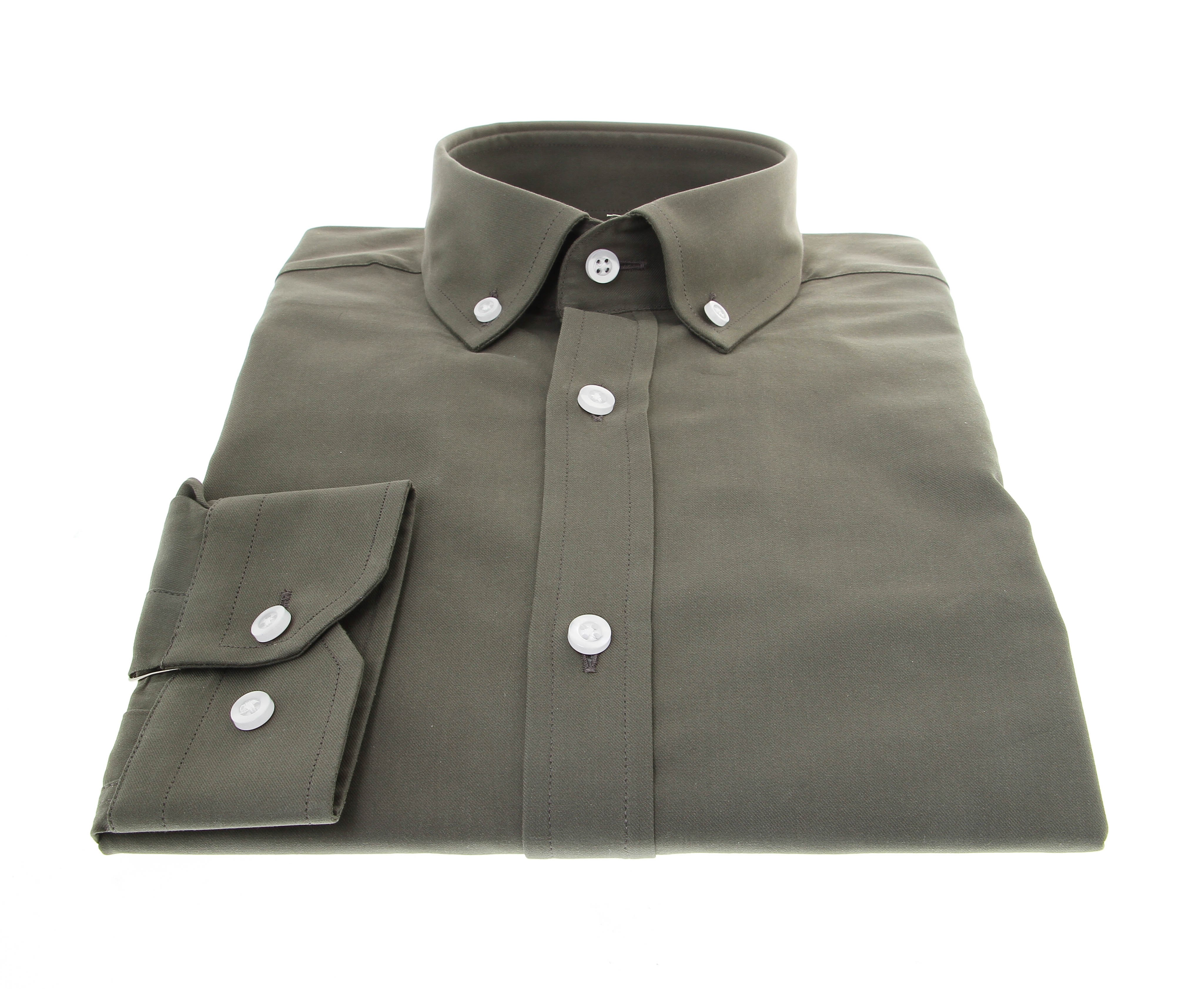 Chemise New-York : Verte - Col boutonné - 100% Coton