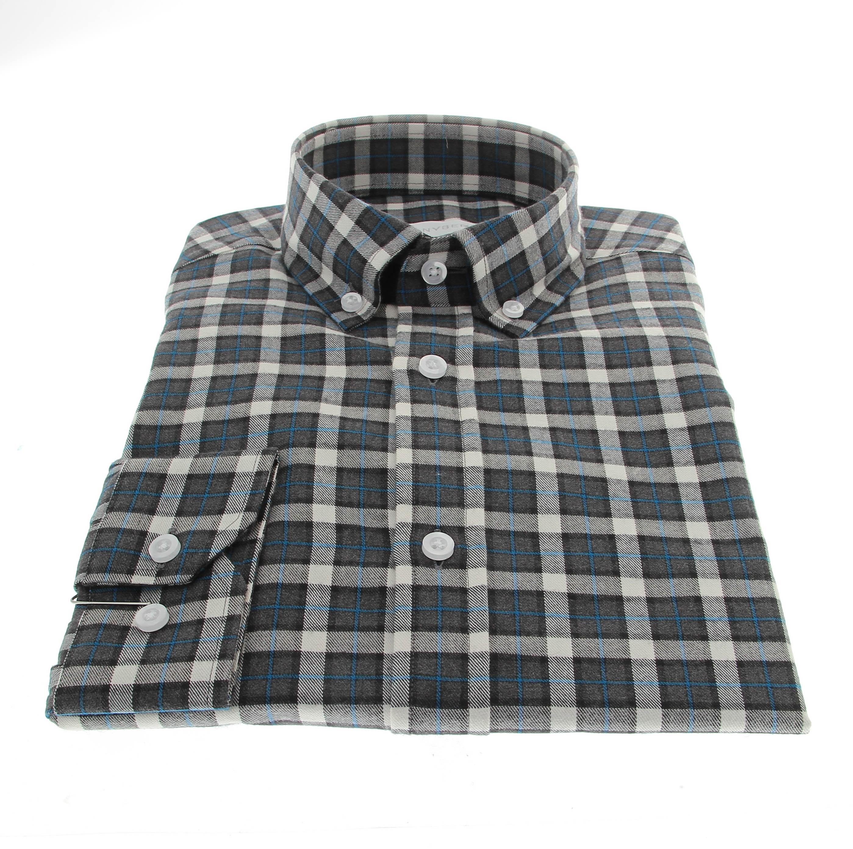 Chemise Winter Vermont : Carreaux gris-blanc et liseret indigo  - Col boutonné - 100% Coton