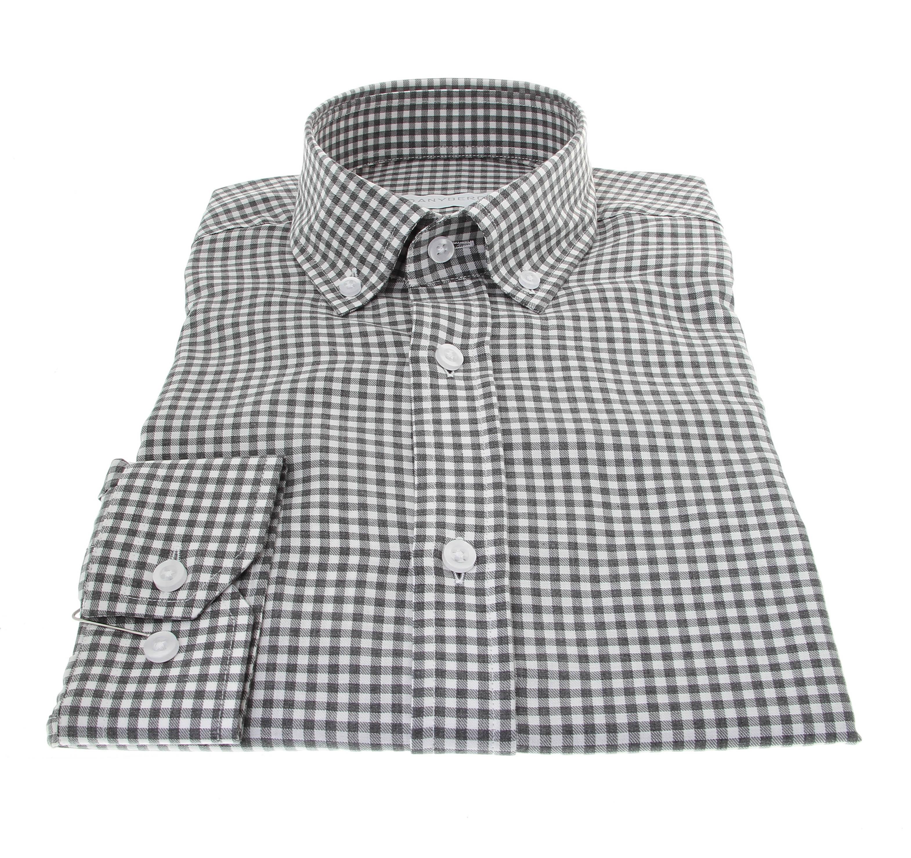 Chemise Winter Vermont : Vichy gris et blanc  - Col boutonné - 100% Coton