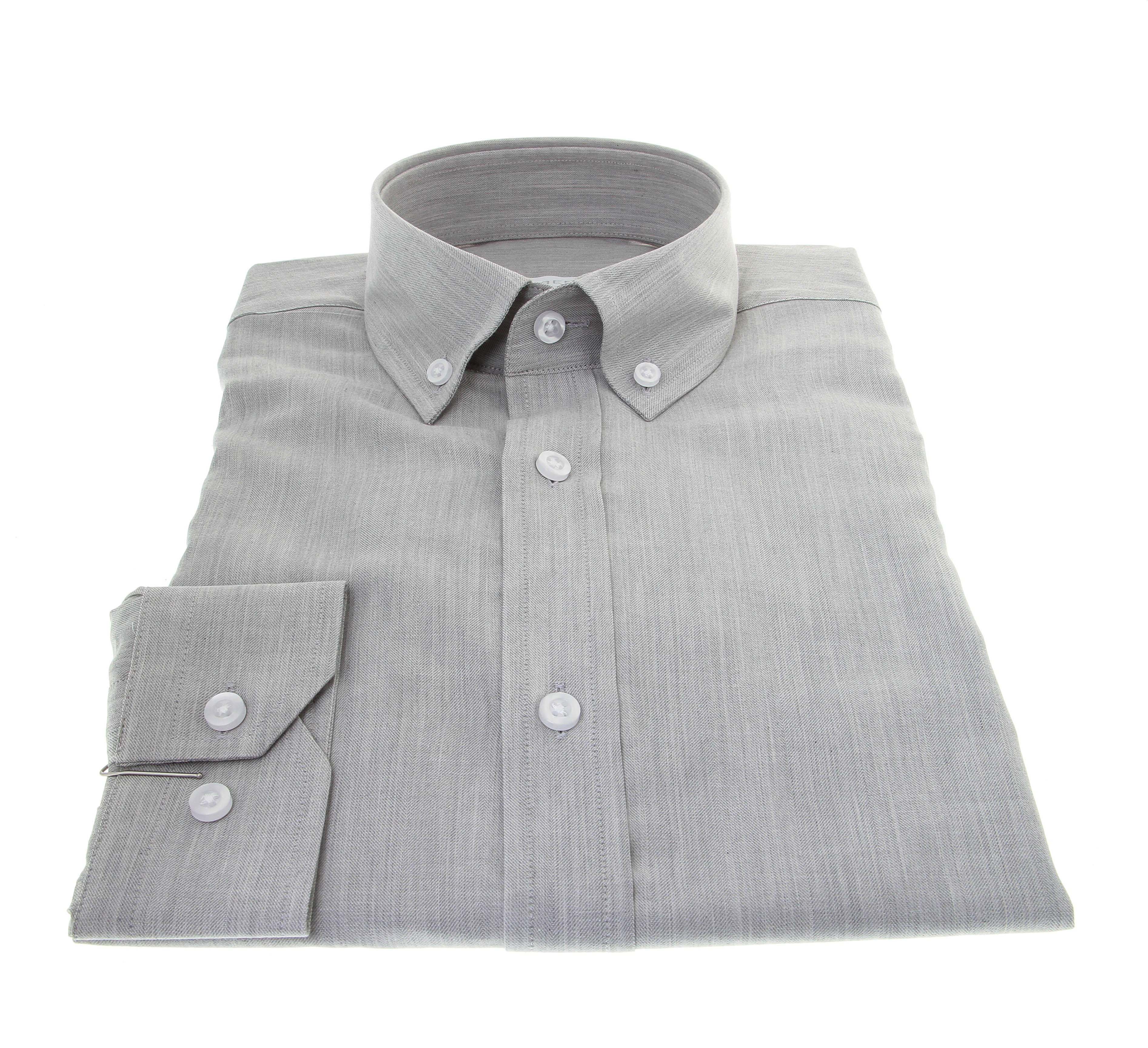 Chemise Winter Vermont : Gris clair - Col boutonné - 100% Coton