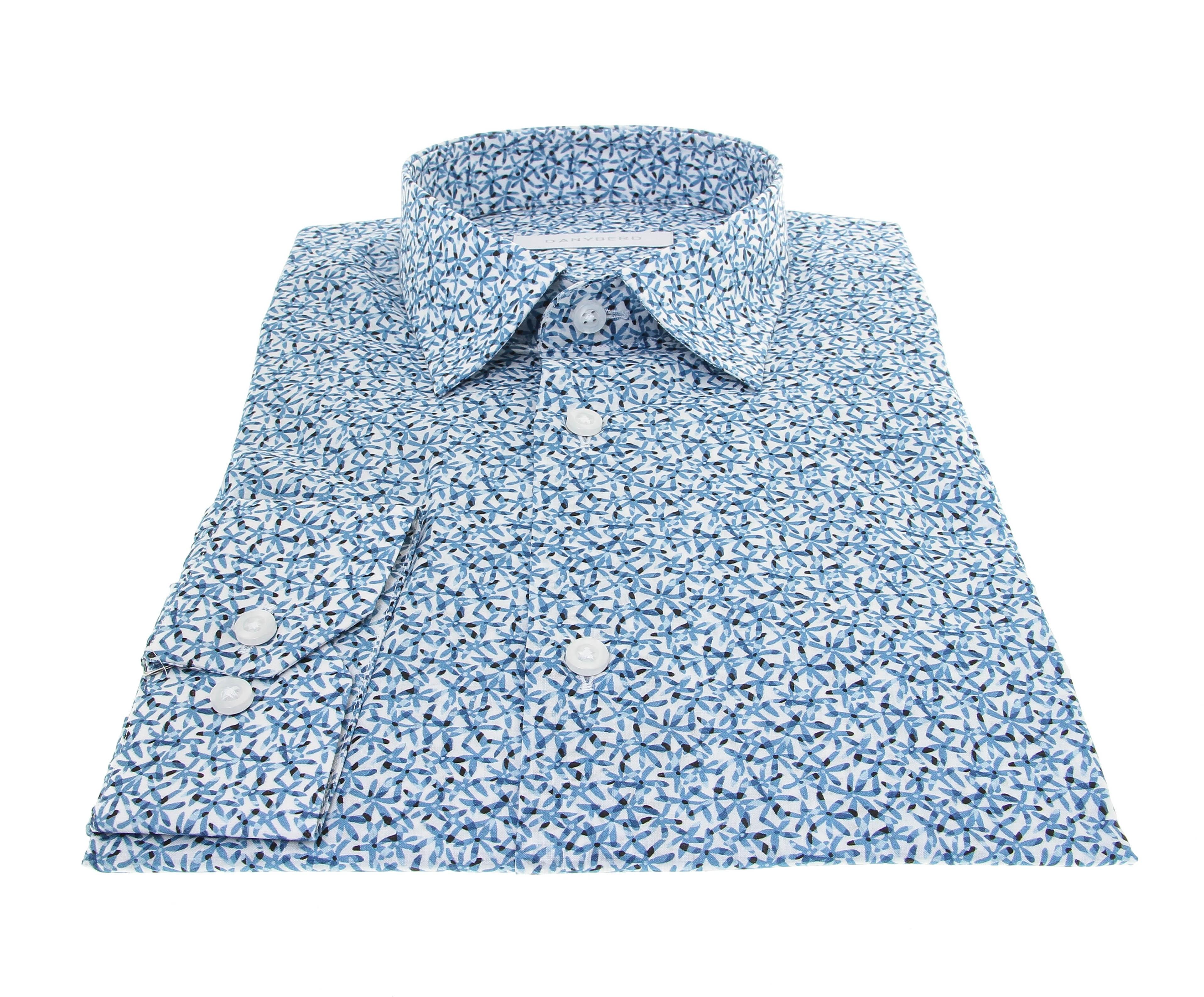 Chemise Summer : Blanc - Motif bleu ciel - Petit col français