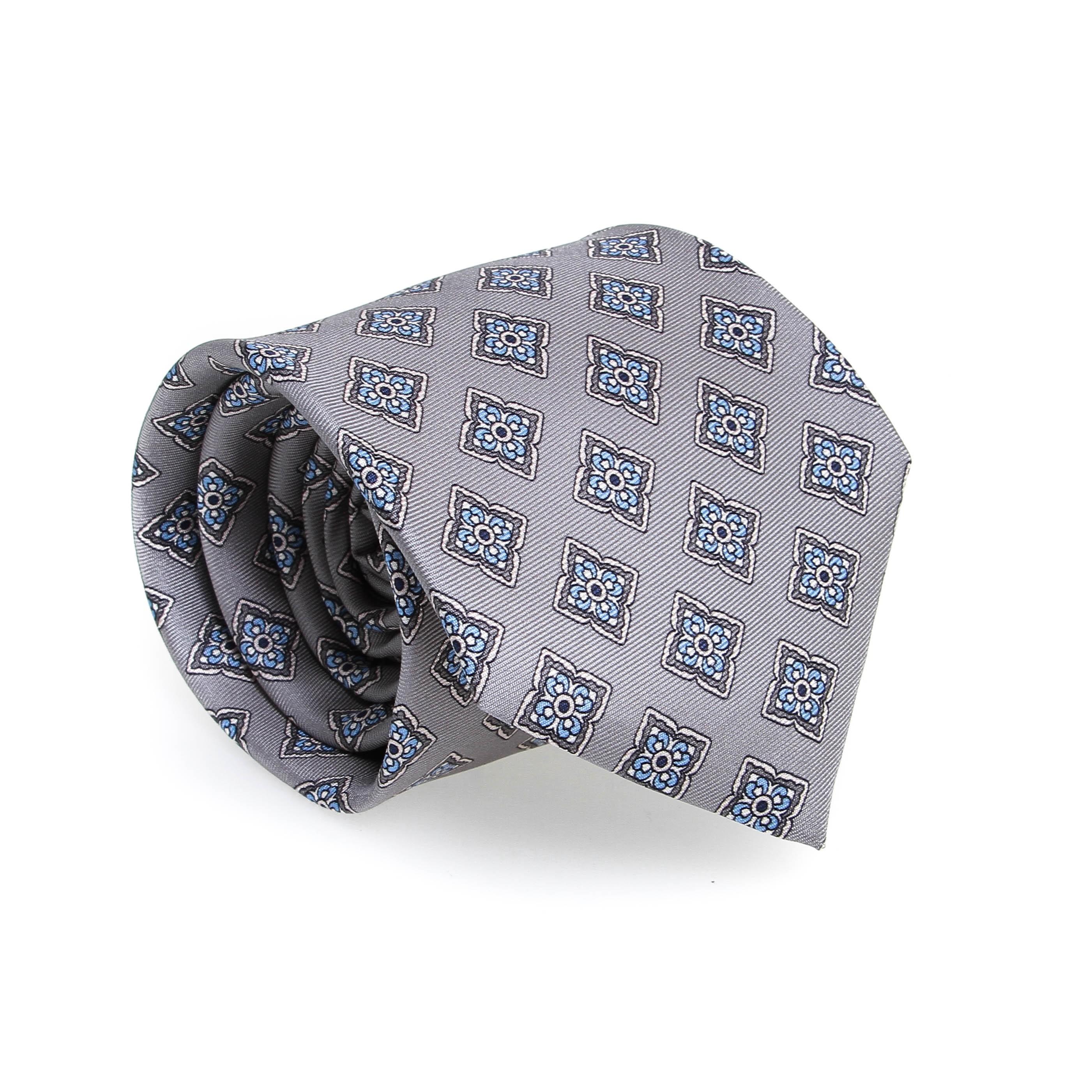 Cravate en soie : Base grise - Motif fleurette bleu et blanc