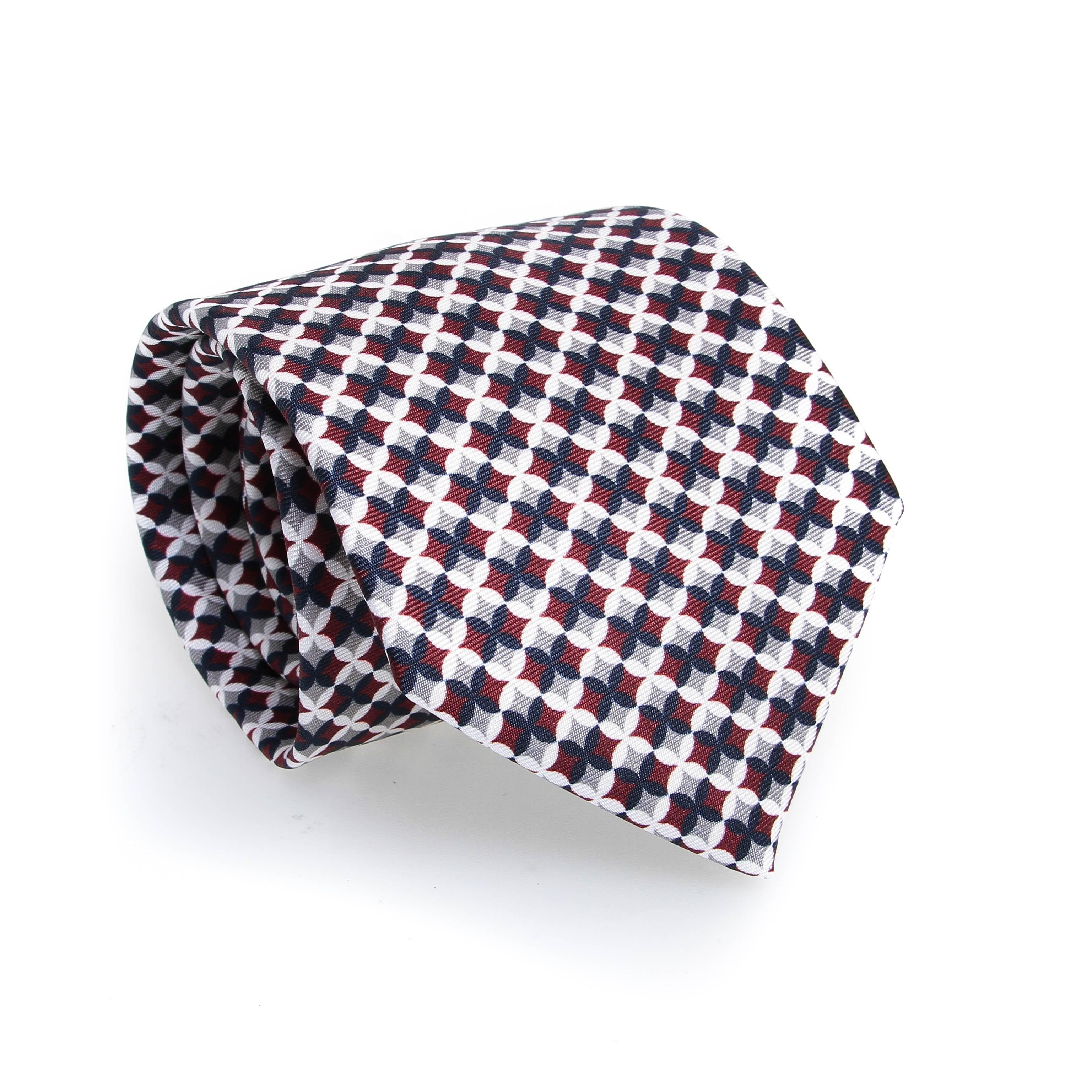 Cravate en soie : Motif croix gris bordeaux et blanc
