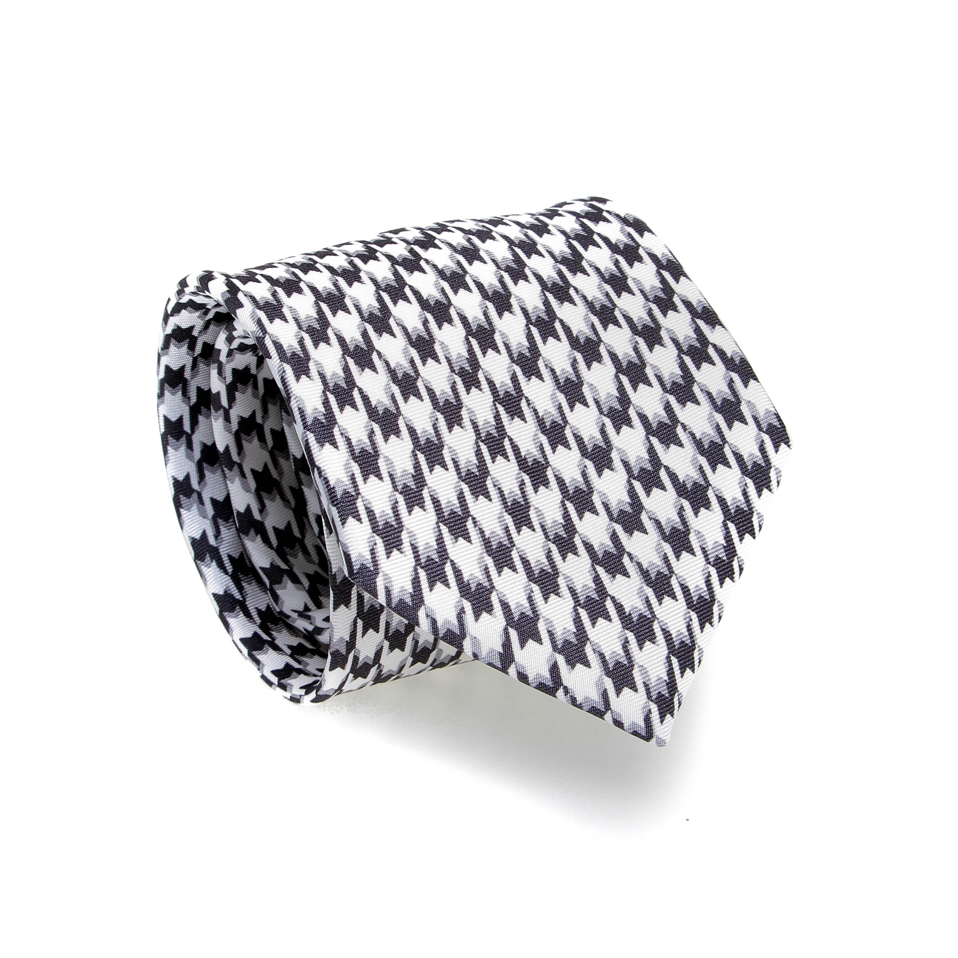Cravate en soie : Carreaux gris et blancs