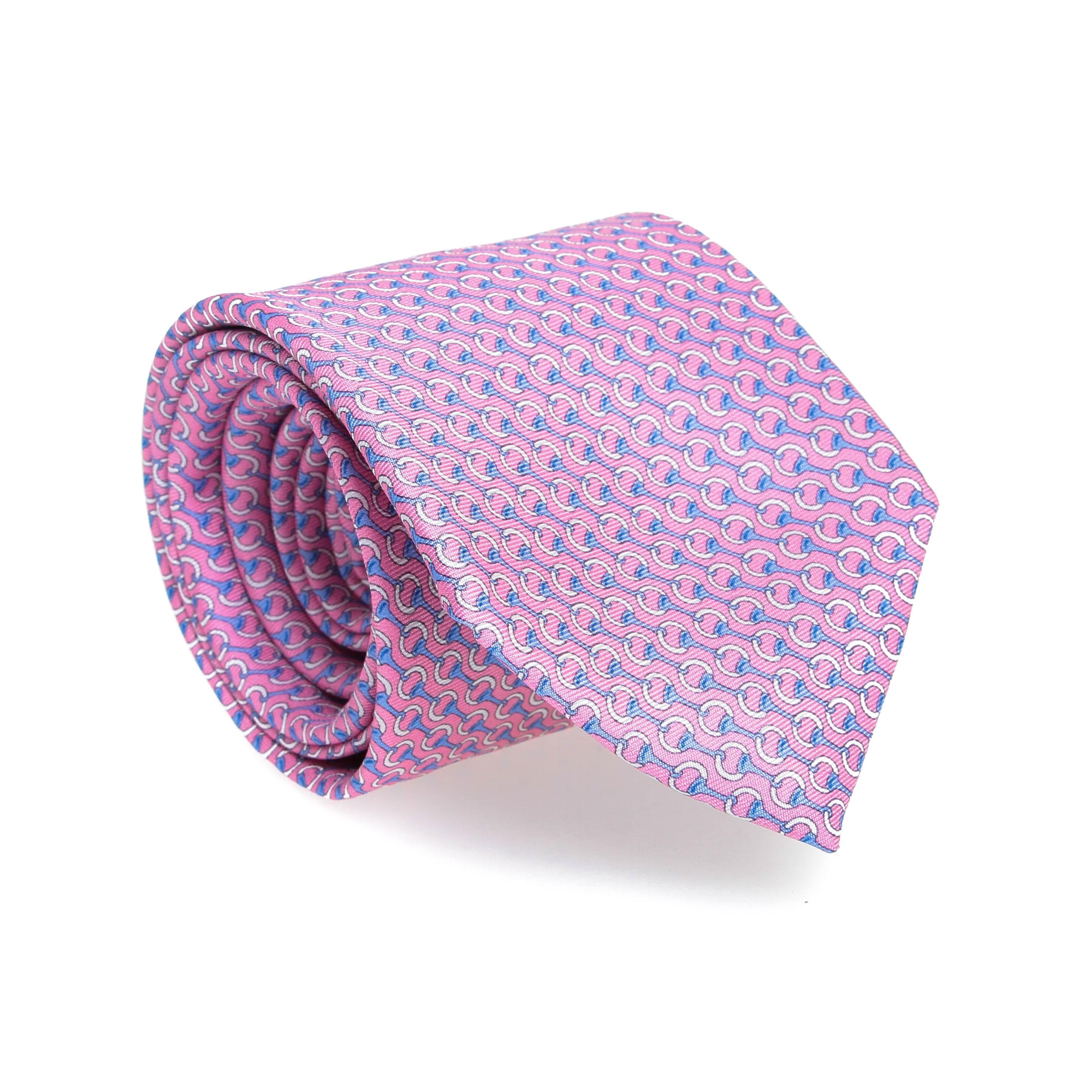 Cravate en soie : Base rose - Motif ciel et blanc