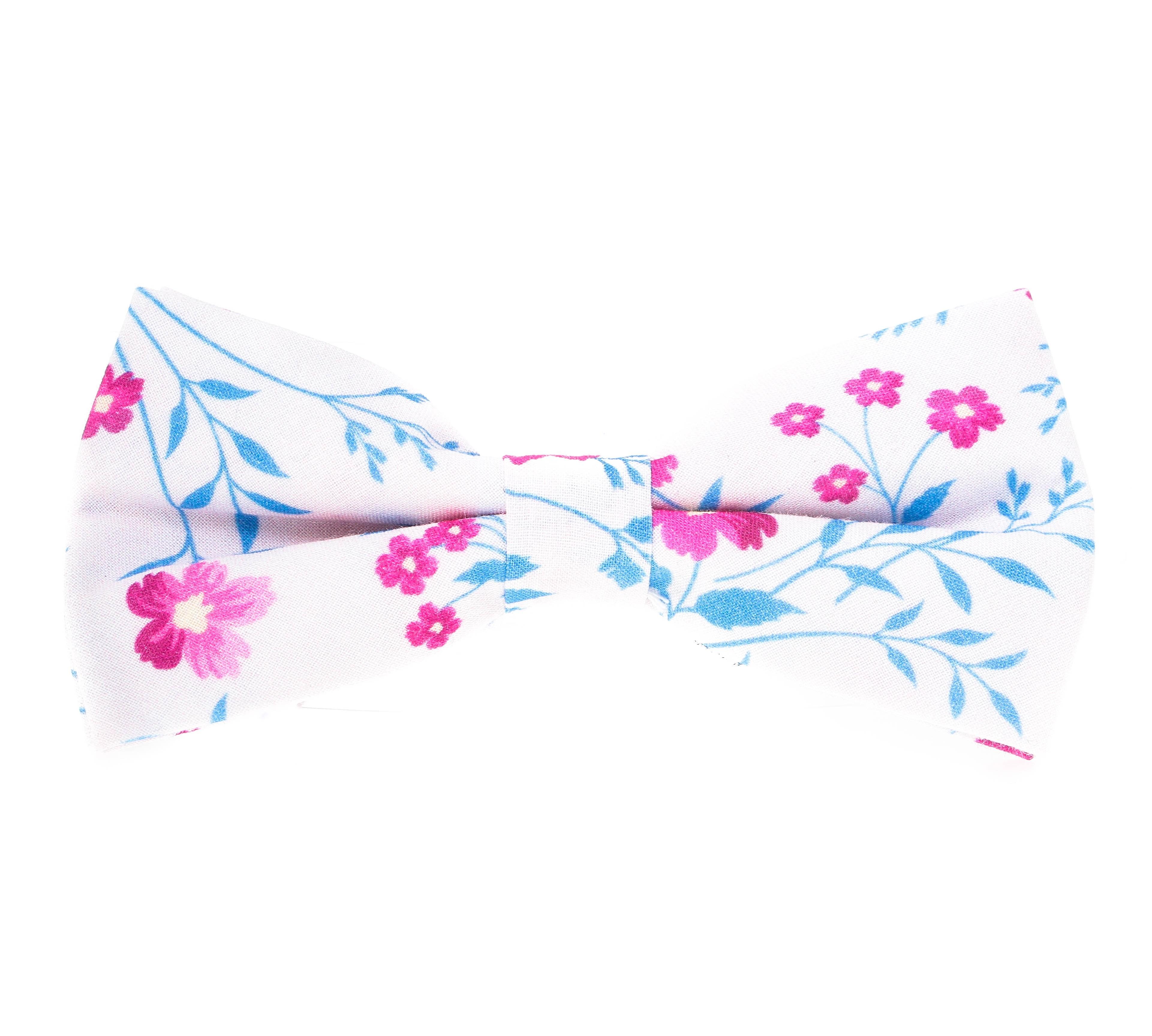 Nœud Papillon : Blanc - Motif fleurs rose et bleu