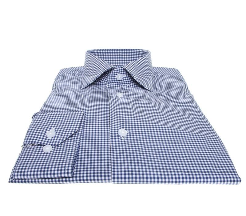 Chemise Roomy : Vichy - Bleu et blanc - Col francais
