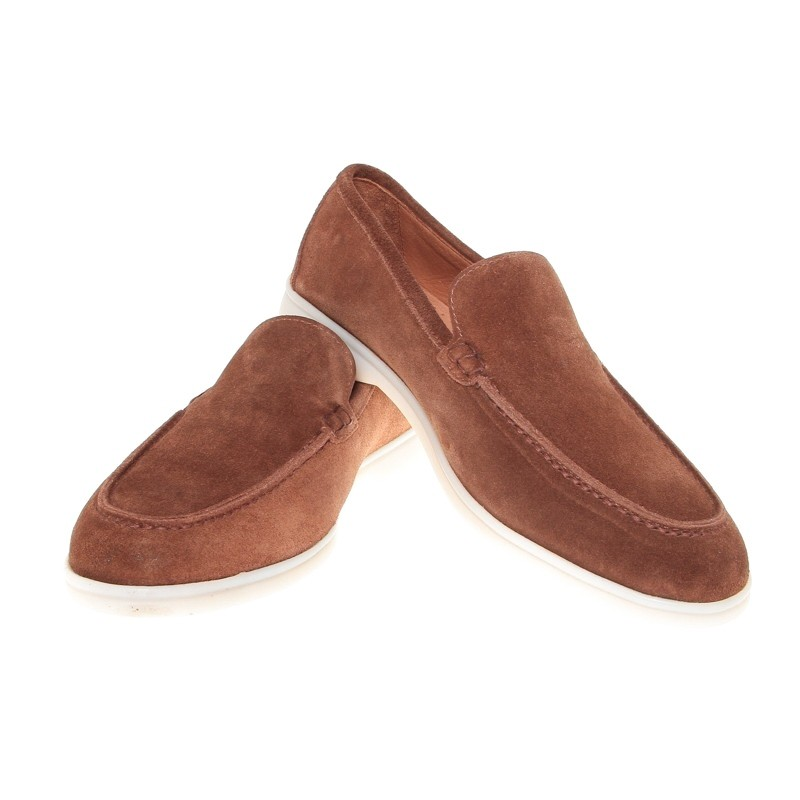 Mocassins : Tabac - Veau Velours - Made in Italy