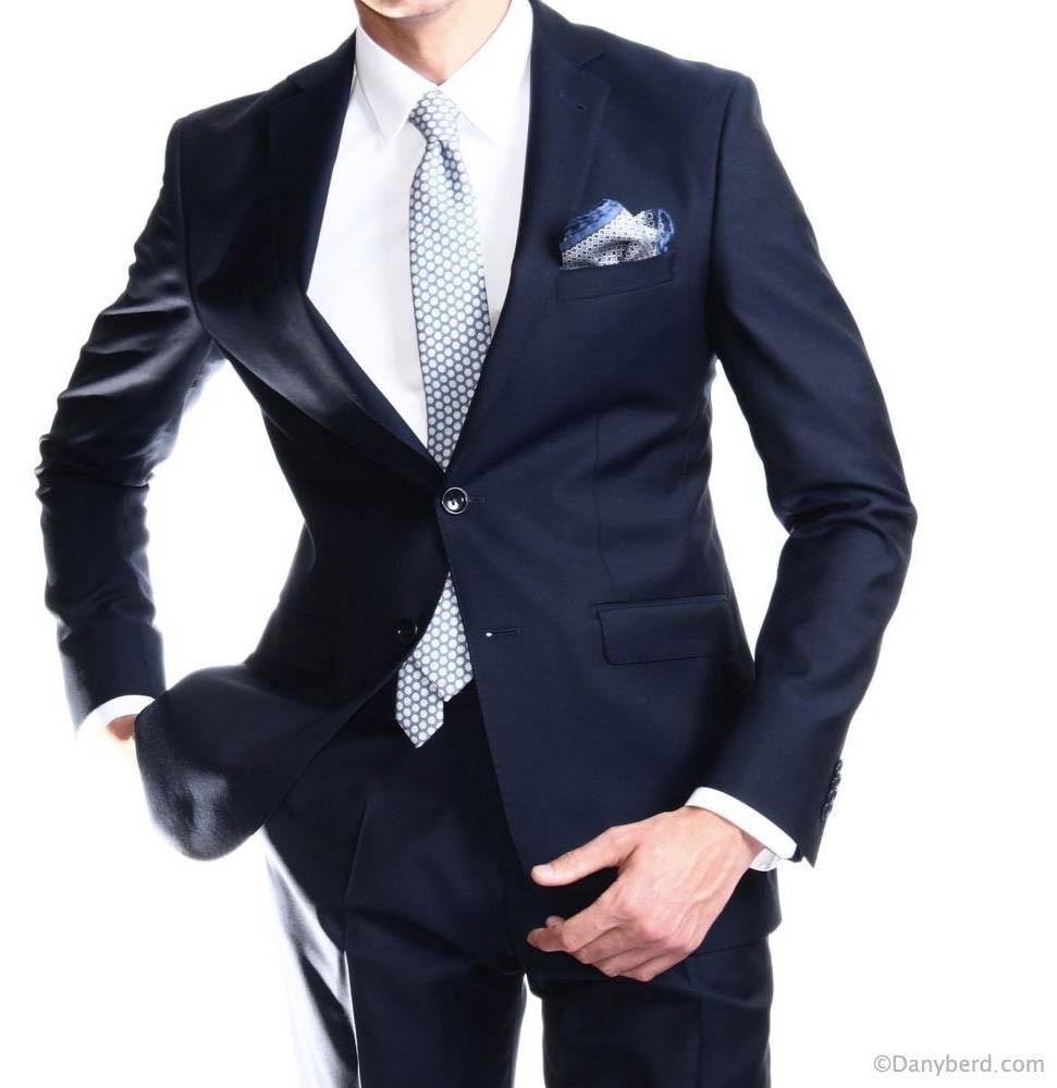 Costume marine - Slim-Fit - Pure Laine - Tissu Canonico 120's (Suits)