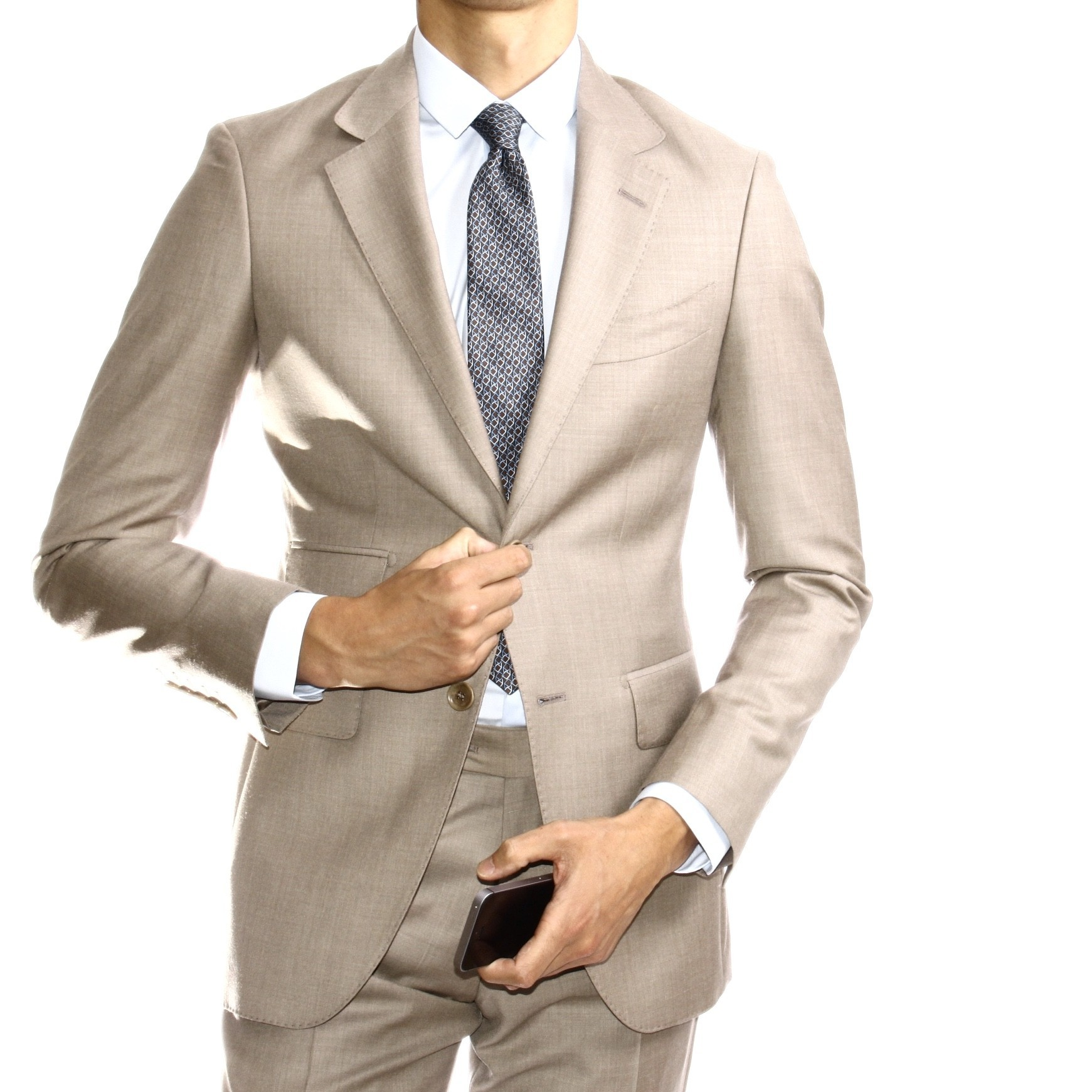 Costume Beige - Slim-Fit - Tissu Zegna Trofeo (Suits)Re