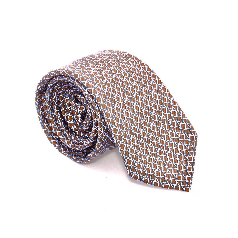 Cravate en Soie : base marron motifs bleus (cravate)