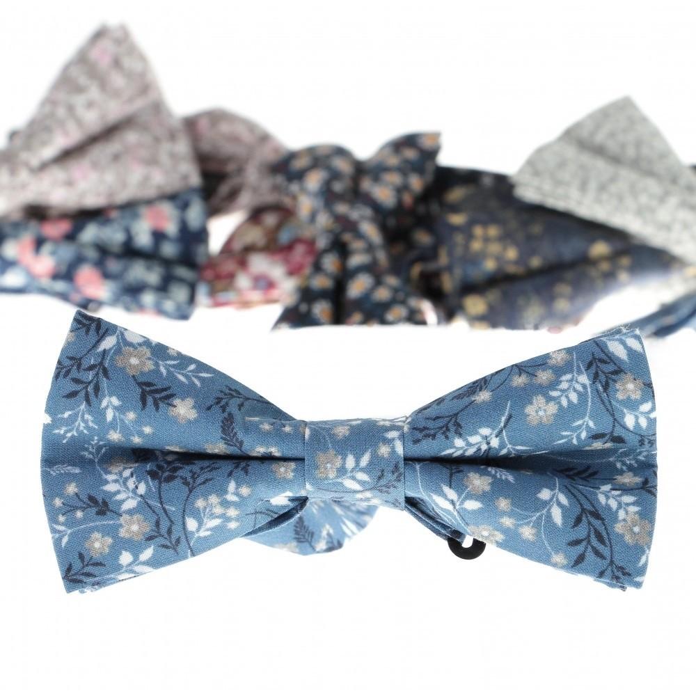 Nœud Papillon : Bleu - Motif fleurs
